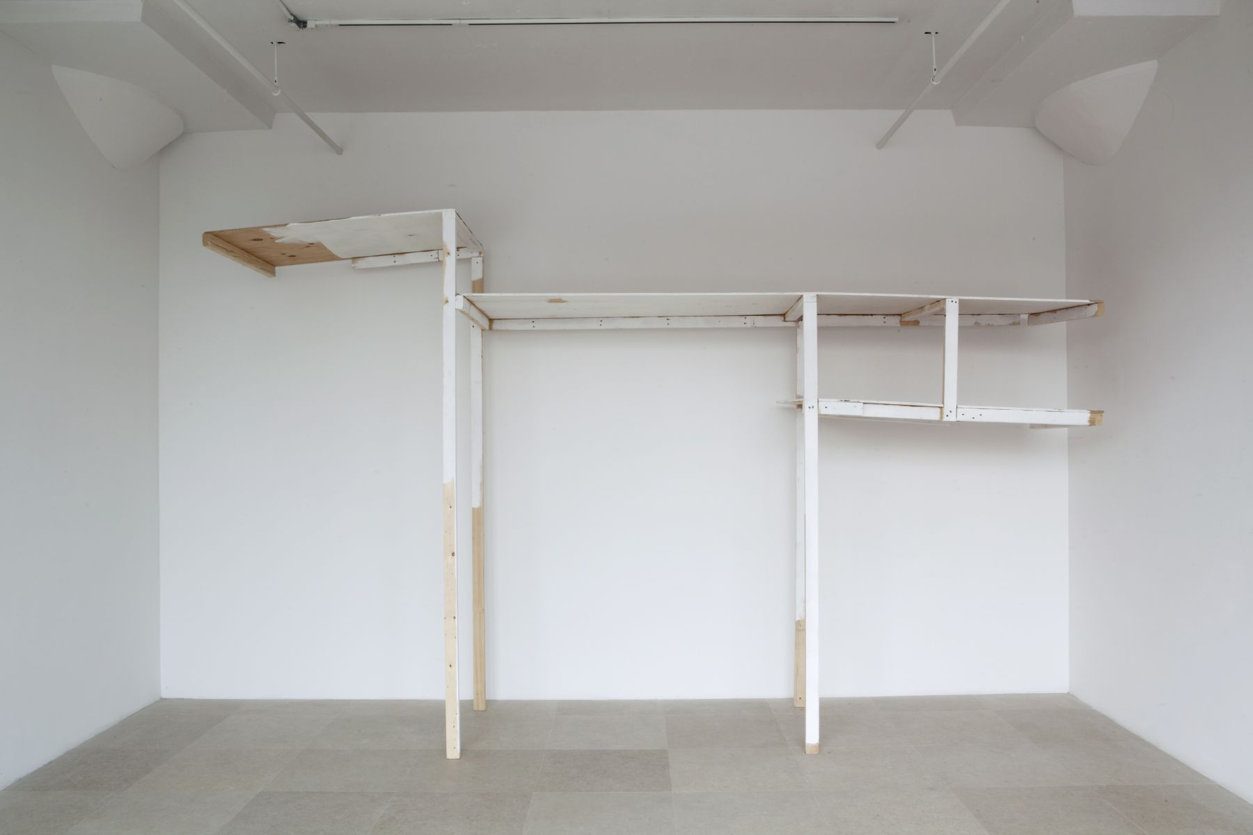 Gedi Sibony, Set Into Motion (Asleep Inside the Wall), 2010, wood, screws, paint, 106 x 176 x 36 1/2 inches