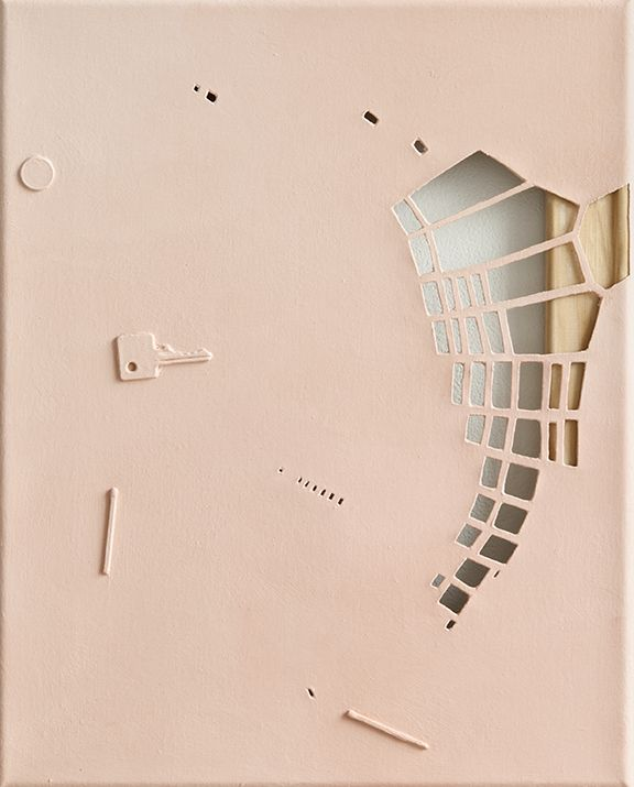 monochrome, 2009  Oil, matches, coin, key on canvas, cut  15 3/4 x 12 7/8 inches
