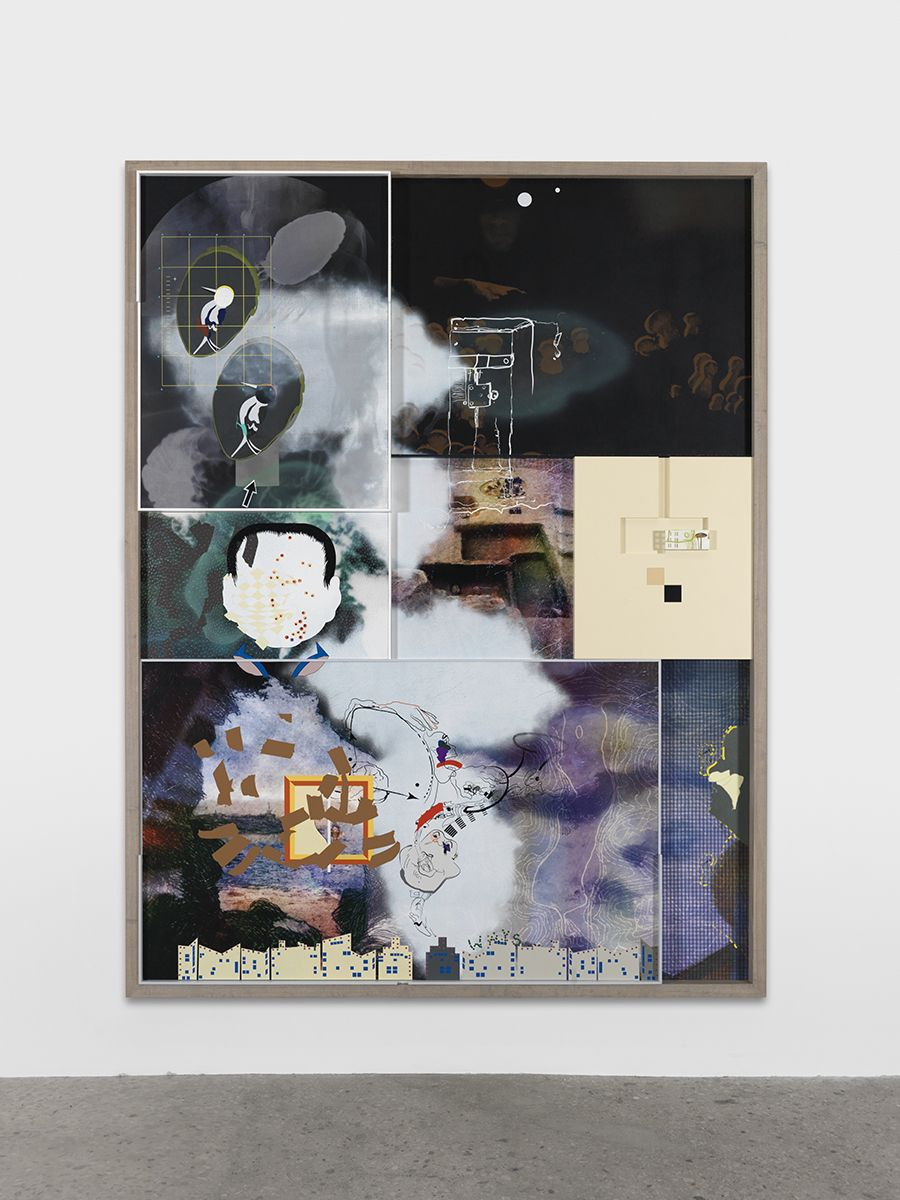 Helen Marten Puddlefoot, digging, 2015 Screen printing and painting on leather, suede, cotton, velvet; stained and sprayed Ash; airbrushed steel; inlaid Formica 118 x 90 1/2 x 3 7/8 inches (299.7 x 229.9 x 9.8 cm)