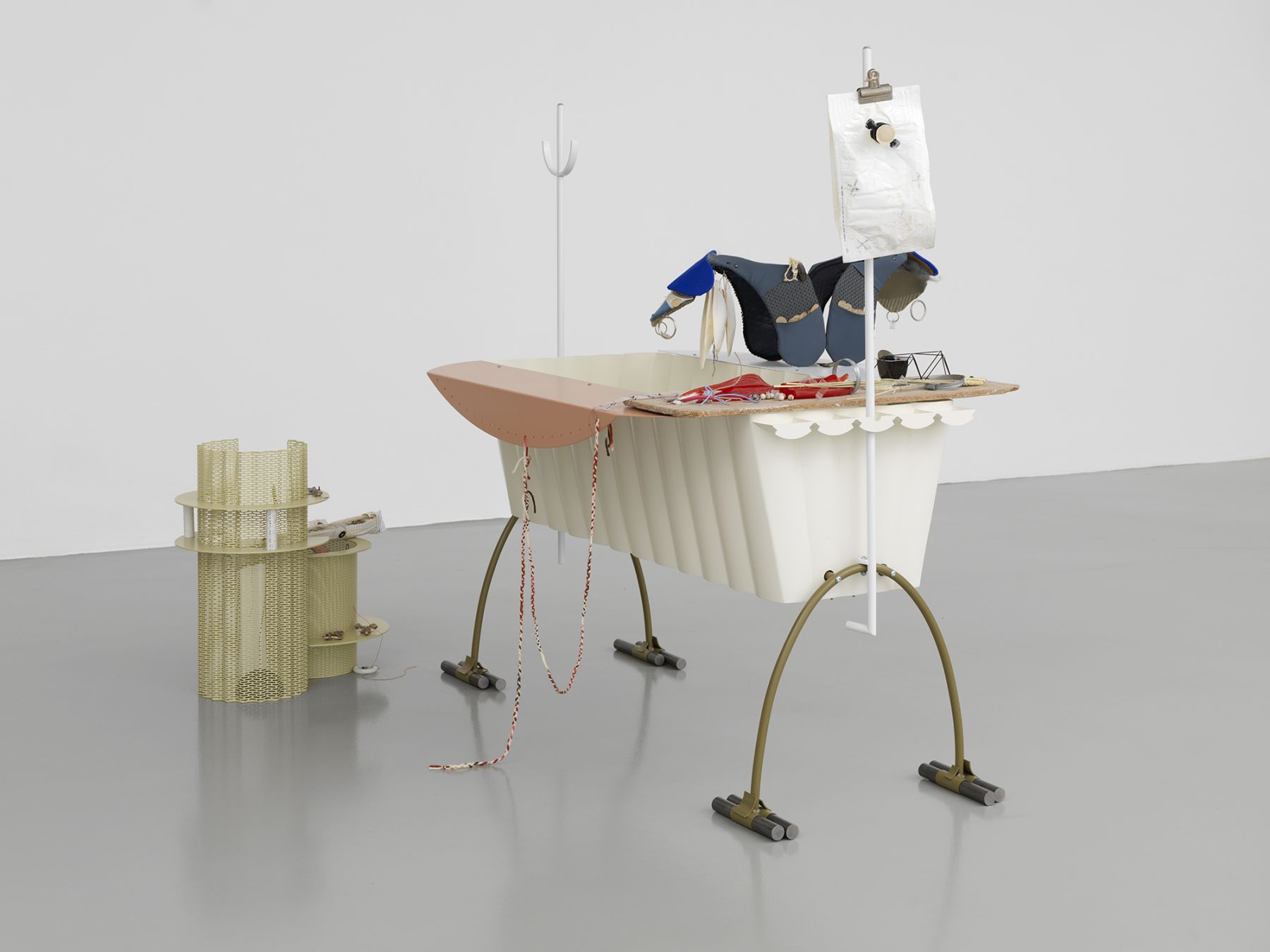 Helen Marten Bodybowl, 2014 Welded steel, aluminium, fabric, plastic, cuttlefish, braided wool, cast bronze, cast rubber, fossil teeth, corn stalk, cast resin, marbles, chipboard, electrical wire, stainless steel, toothpicks 67 x 70 7⁄8 x 45 1⁄4 in (170.18 x 180.02 x 114.94 cm)