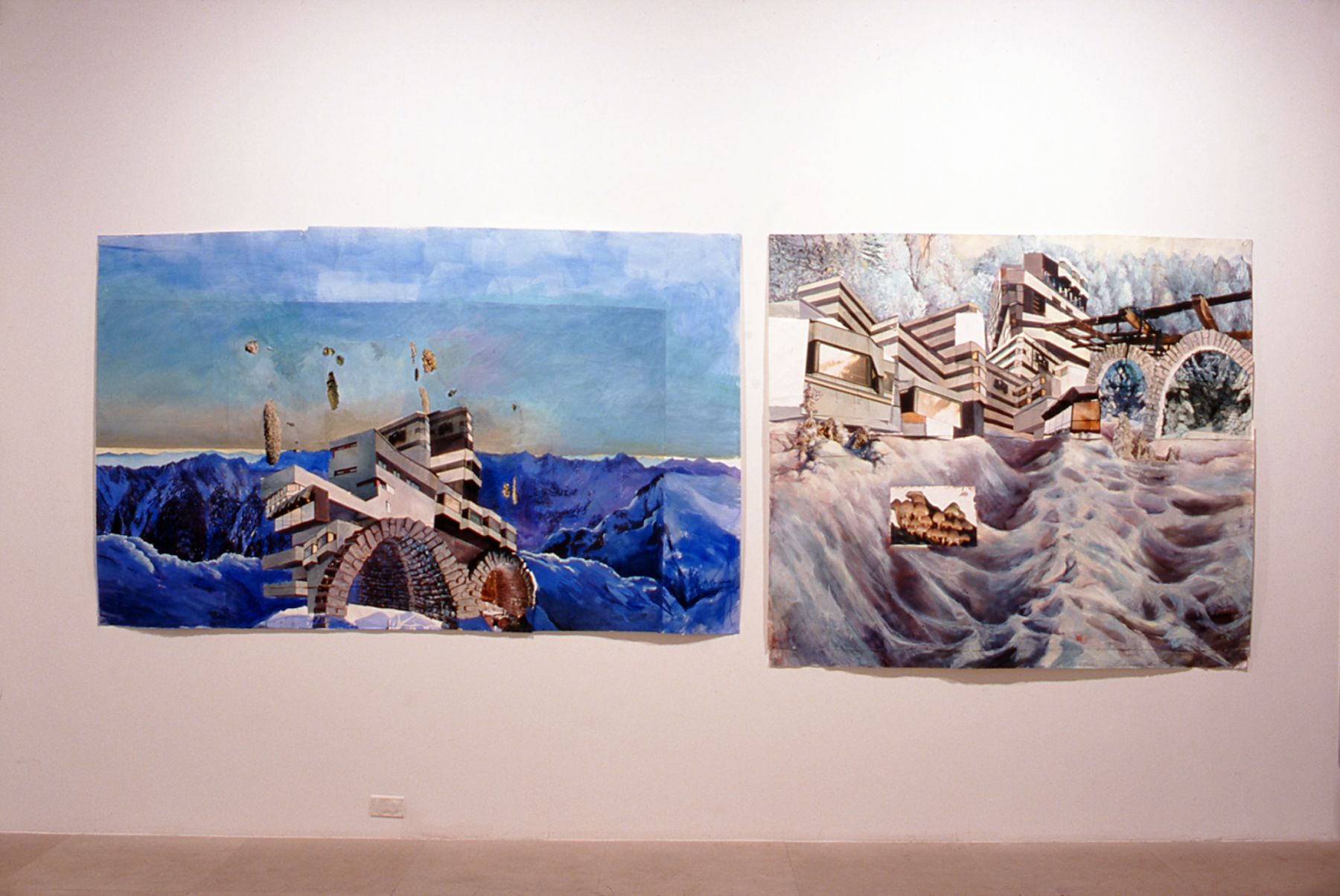 Amelie von Wulffen,  Untitled & Untitled, 1998,  Acrylic and photocollage on cardboard and paper, 55 x 78 3/4 inches, 57 86 1/2 inches