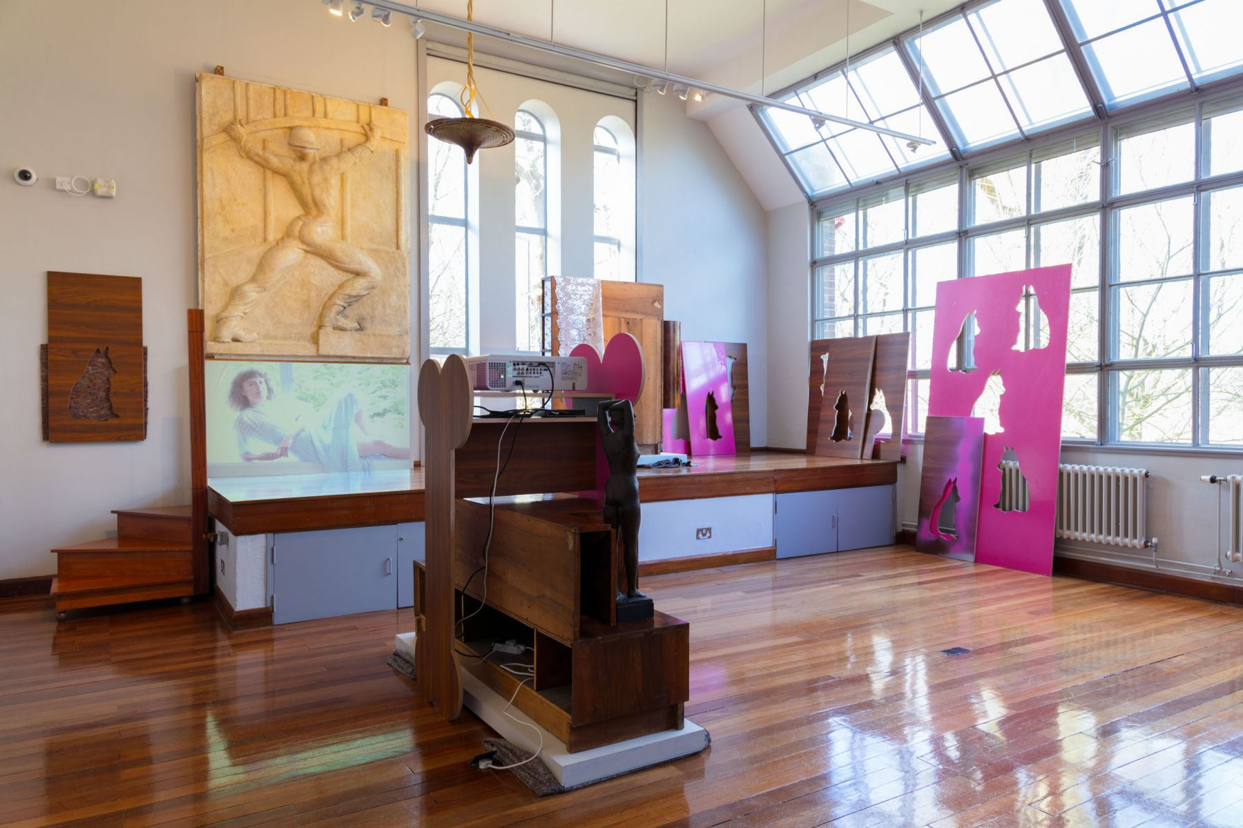 Hilary Lloyd, Installation view, Awful Girls, Dorich House Museum, Kingston University, London, 2017