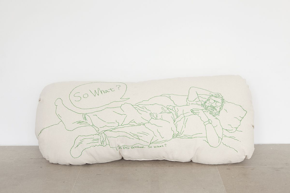 Mieko Meguro So What? , 2016 Cotton canvas, thread and polyester stuffing 16 x 41 x 12 inches (40.6 x 104.1 x 30.5 cm)