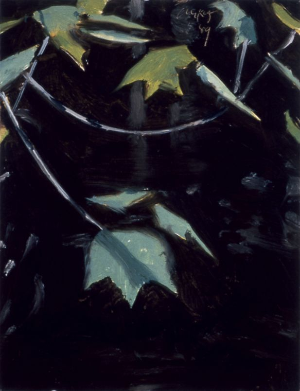 Maple at Black Brook III, 1989, oil on board, 11 3/4 x 9 inches