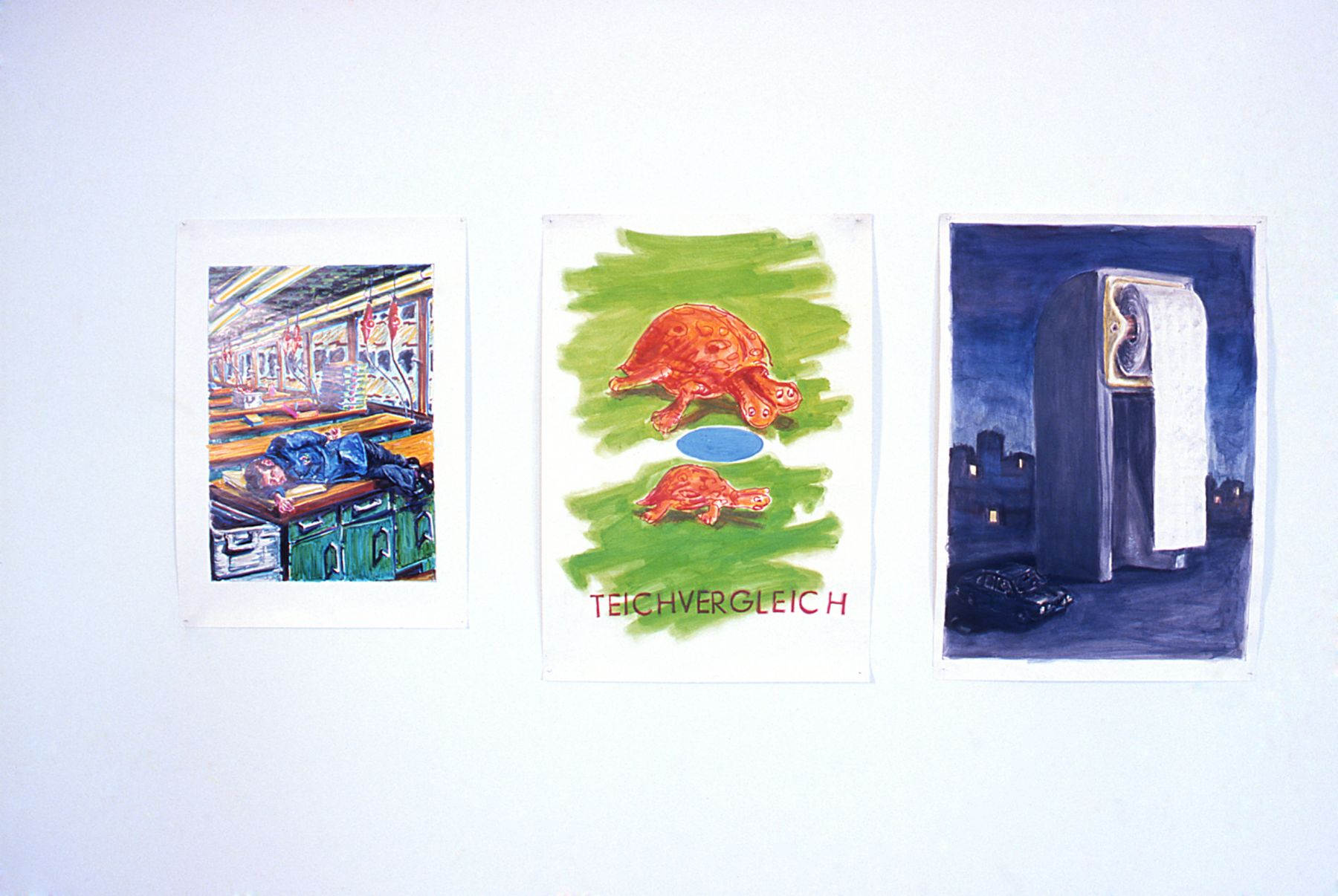 Andres Siekmann, Installation view of Sleeping Worker, Teichvergleich and Box Building, 1977, Felt-tip pen and watercolor on paper, 33 3/4 x 24 3/4 inches; 39 1/4 x 26 1/4 inches; 39 1/4 x 26 3/4 inches