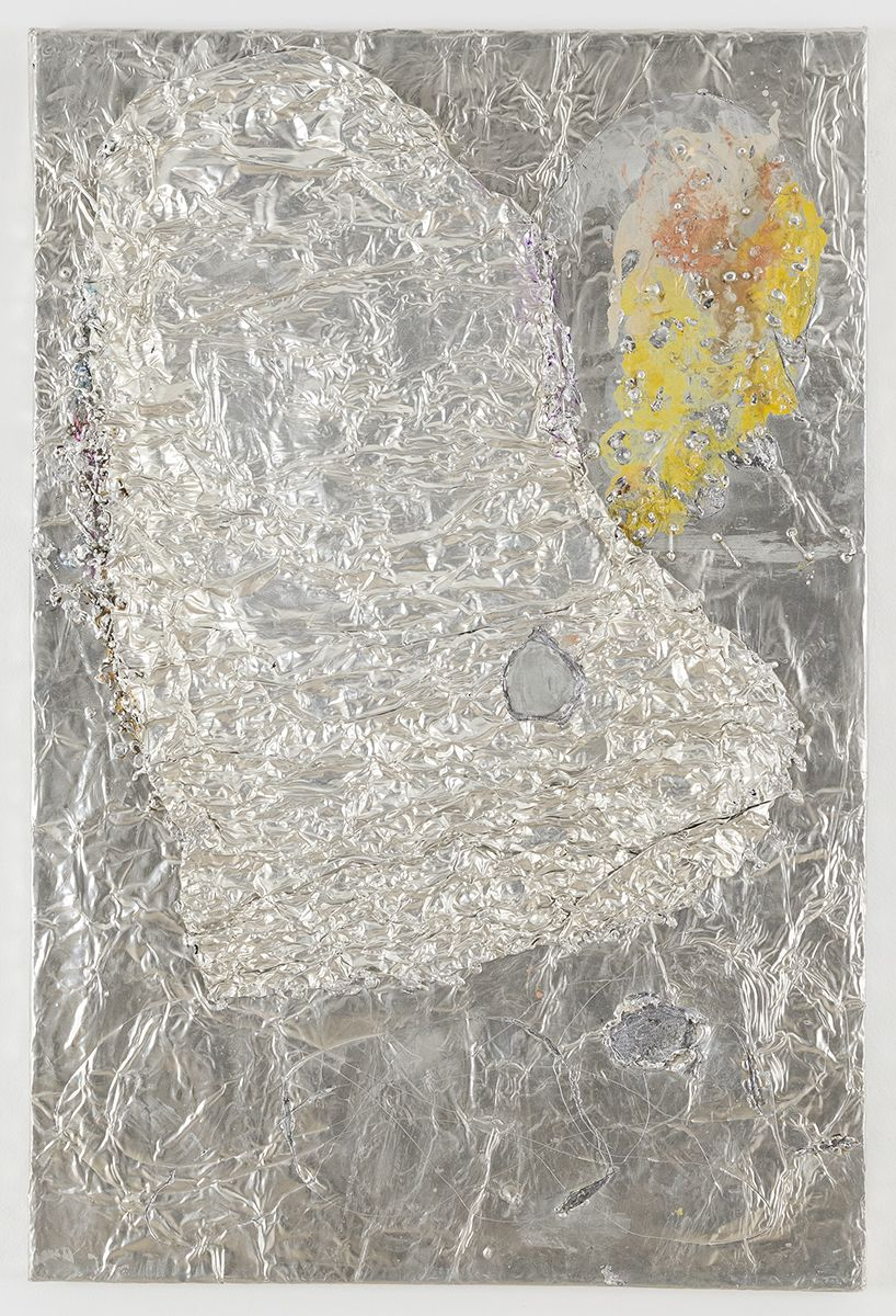 Josef Strau  Scourge, 2018  Tin plate, tin wire, acrylic, ballpoint pen on canvas  30 x 20 x 1 inches (76.2 x 50.8 x 2.5 cm)