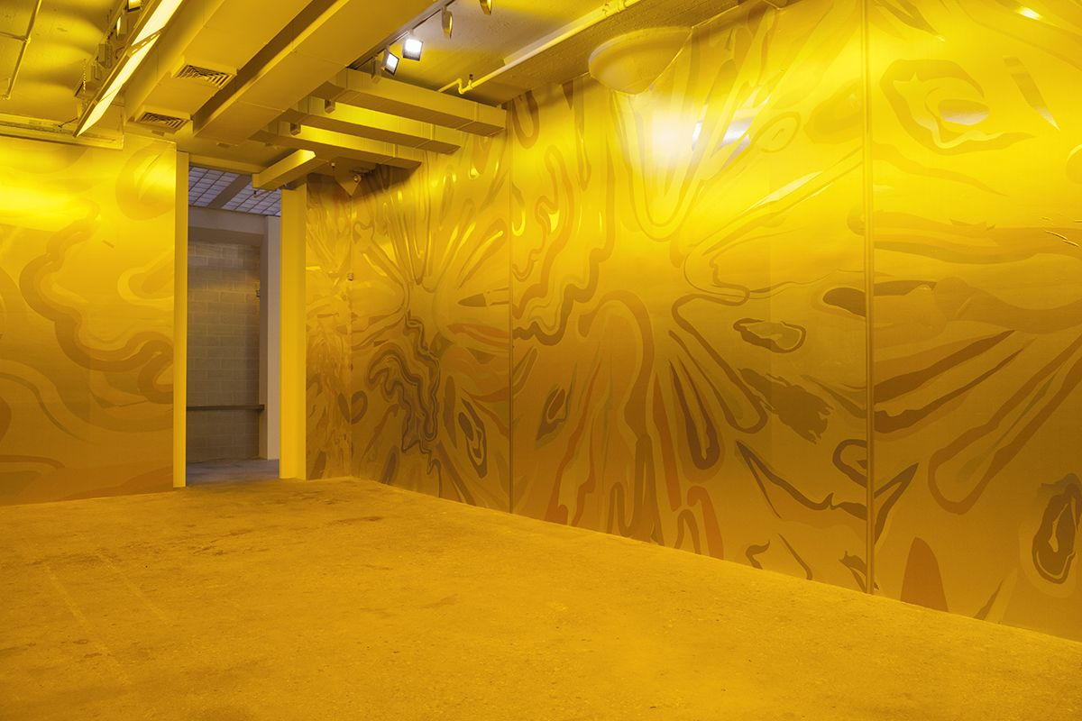 Peter Halley, Five Yellow Explosions, 2017 Mural-sized digital prints on metallic ground, colored window film, light gels Dimensions variable