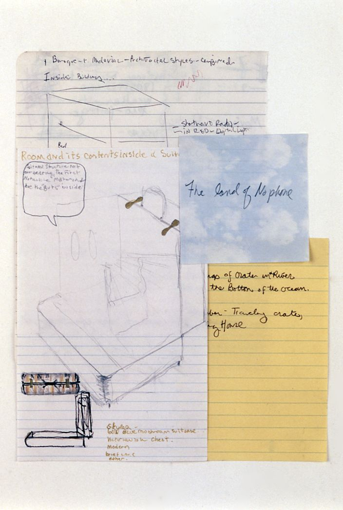 Julie Becker, Untitled (The Land of No Phone), 2002, mixed media on paper, 10 3/3 x 8 1/2 inches