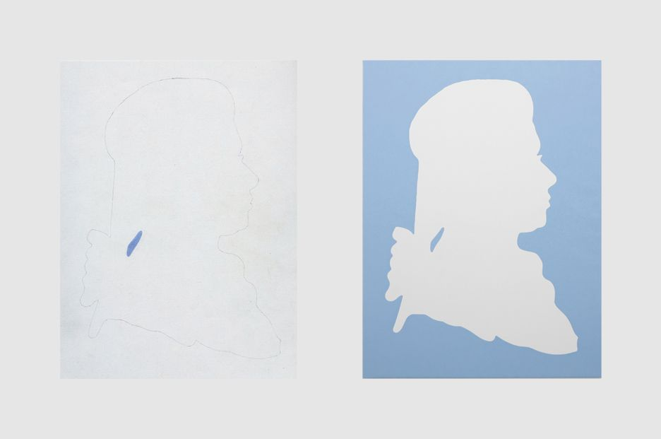 Daan van Golden  Mozart  Oil and pencil on canvas  Left: 15 3/4 x 11 7/8 inches (40 x 30 cm)  Right: 15 3/4 x 11 7/8 inches (40 x 30 cm)