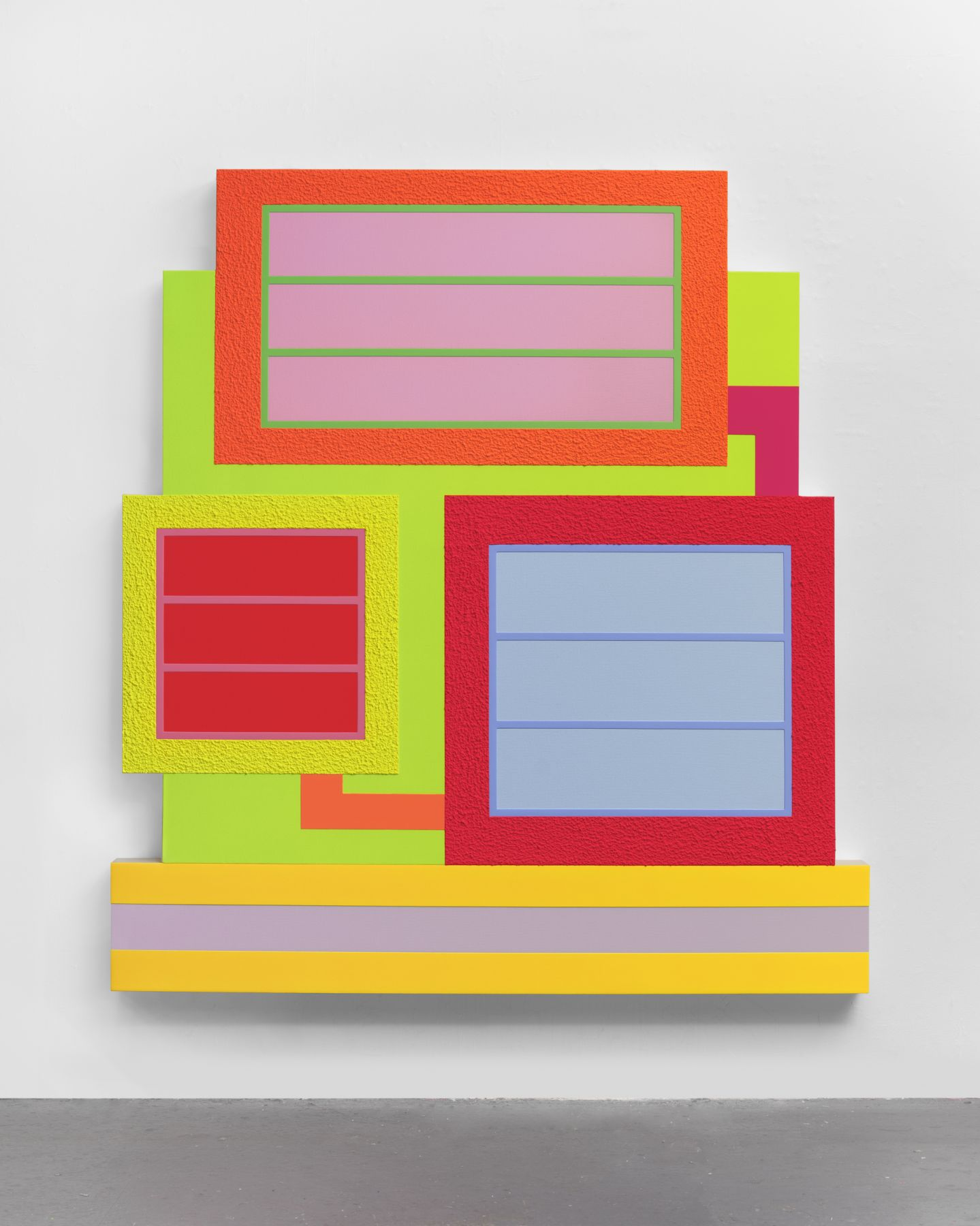 Peter Halley, Hesperos, 2019. Acrylic, fluorescent acrylic and Roll-a-Tex on canvas.