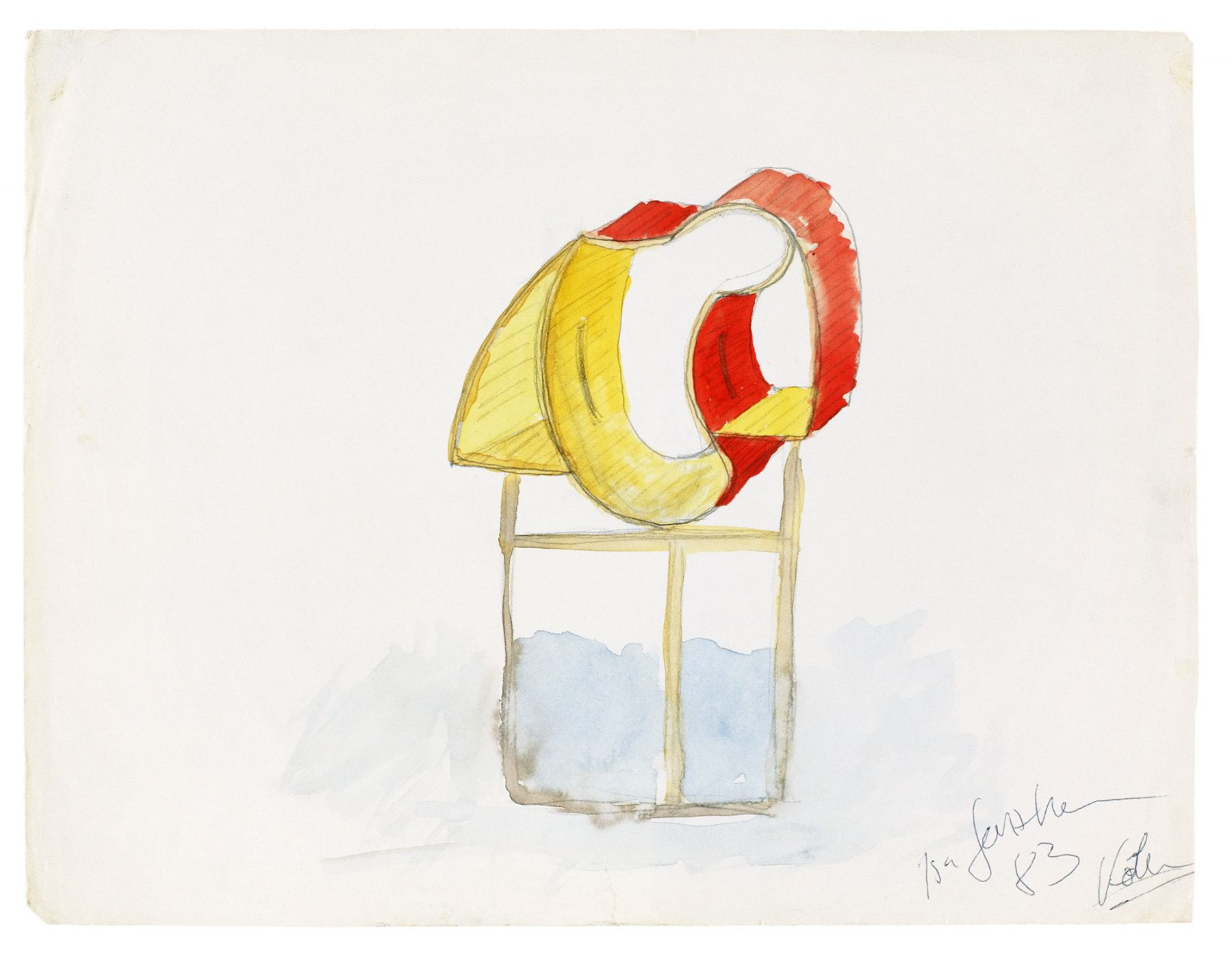Isa Genzken Untitled, 1983 Watercolor and pencil on cardboard Board: 9 1/2 x 12 1/2 inches (24.1 x 31.8 cm) Frame: 12 x 15 inches (30.5 x 38.1 cm)
