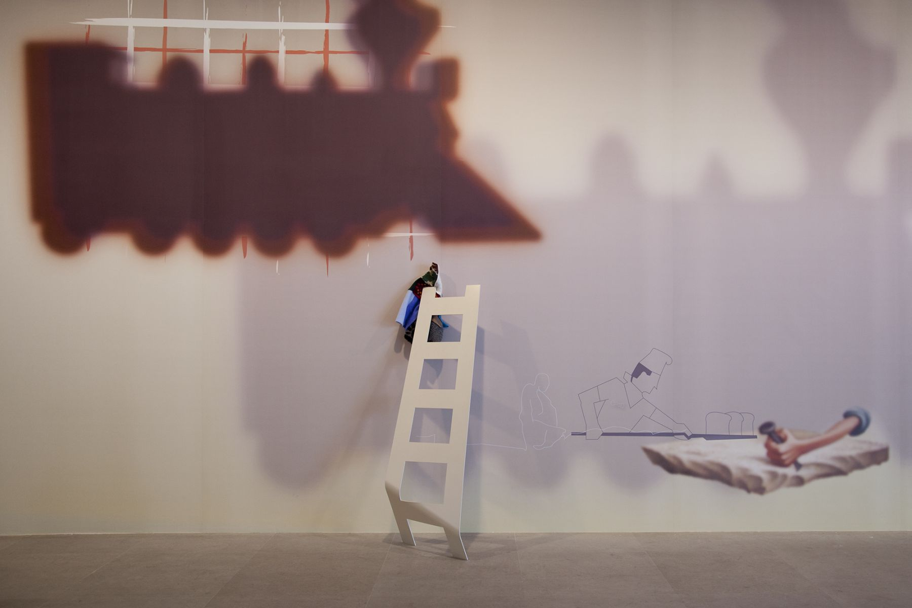 Helen Marten, Some Civic Shades (Highball Hi Rise), 2011, Digitally printed wallpaper from vector drawing, Dimensions variable, Installation view, Greene Naftali, 2011
