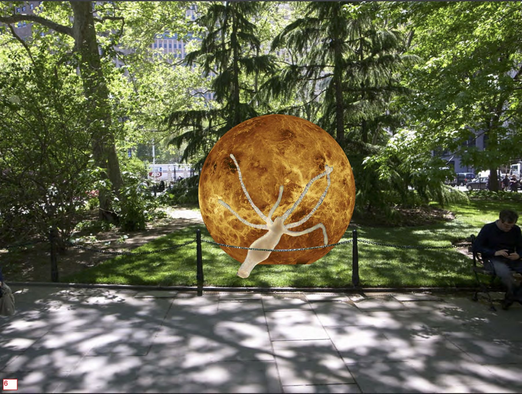 This June, as part of its 40th anniversary, Public Art Fund will present Earth Potential, a new exhibition by emerging Estonian artist Katja Novitskova. Her first major institutional show and outdoor commission in the United States, the exhibition will transform Lower Manhattan's City Hall Park into a surreal landscape with a new series of seven large, flat cut aluminum sculptures. Featuring online-sourced, digitally-printed imagery, the works layer alien-like, yet terrestrial animals and organisms over celestial bodies and planets. By creating images at once scientific and poetic, these dramatic, visual objects expose worlds unseen by the naked eye yet indispensable to human advancement. The flatness of the sculptures replicates the experience of viewing images online, while the imagery and its connotations—from science fiction to achievements in image making—will encourage visitors to consider how developments in technology have changed our perceptions of the natural world. Earth Potential will be on view from June 22 – November 9, 2017 at City Hall Park, Lower Manhattan.,