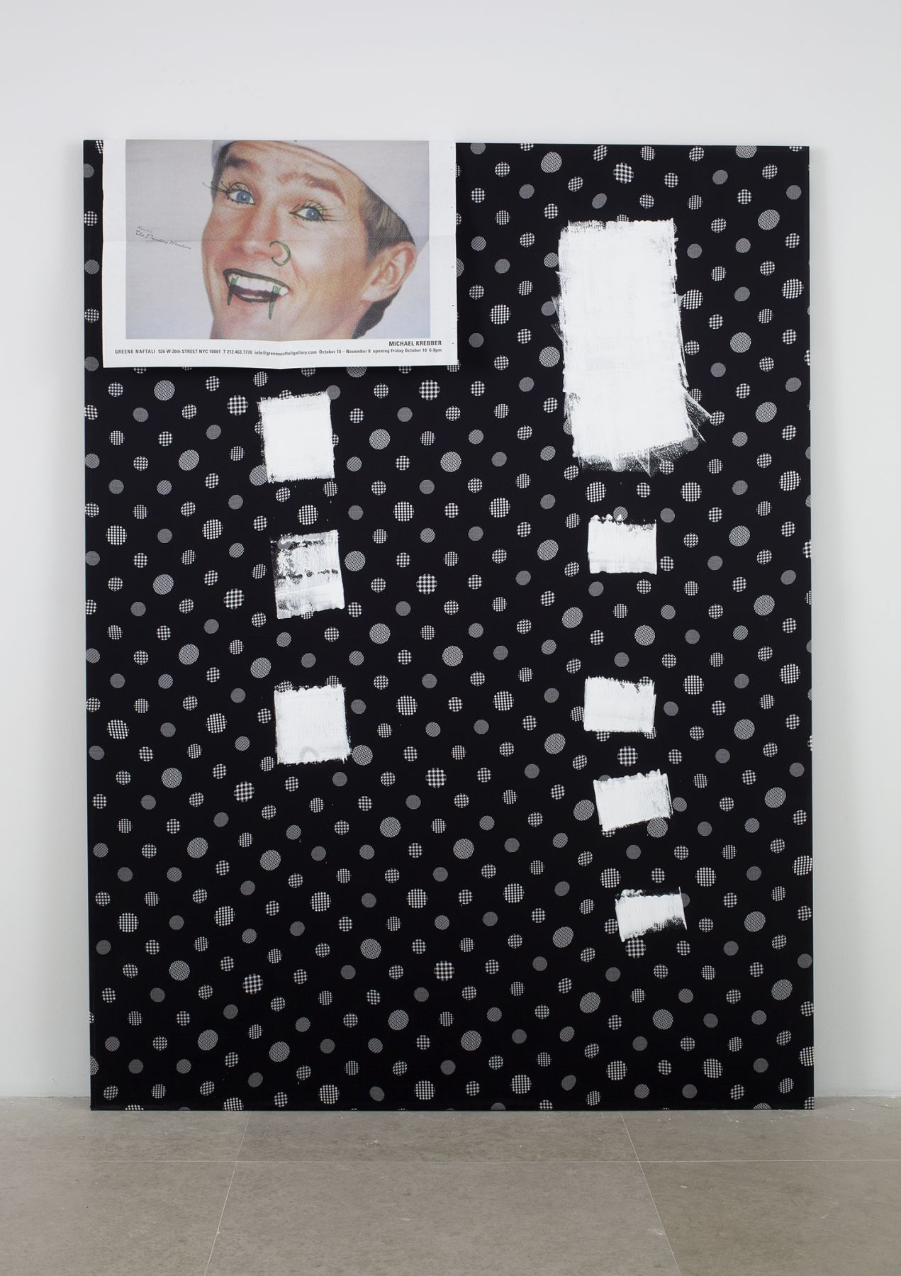 The Other Day, 2003,  Acrylic and paper on fabric,  60 x 44 inches