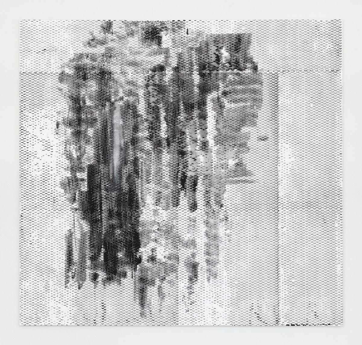 Jacqueline Humphries :):(, 2016 Oil on linen 72 x 76 inches (182.9 x 193 cm)