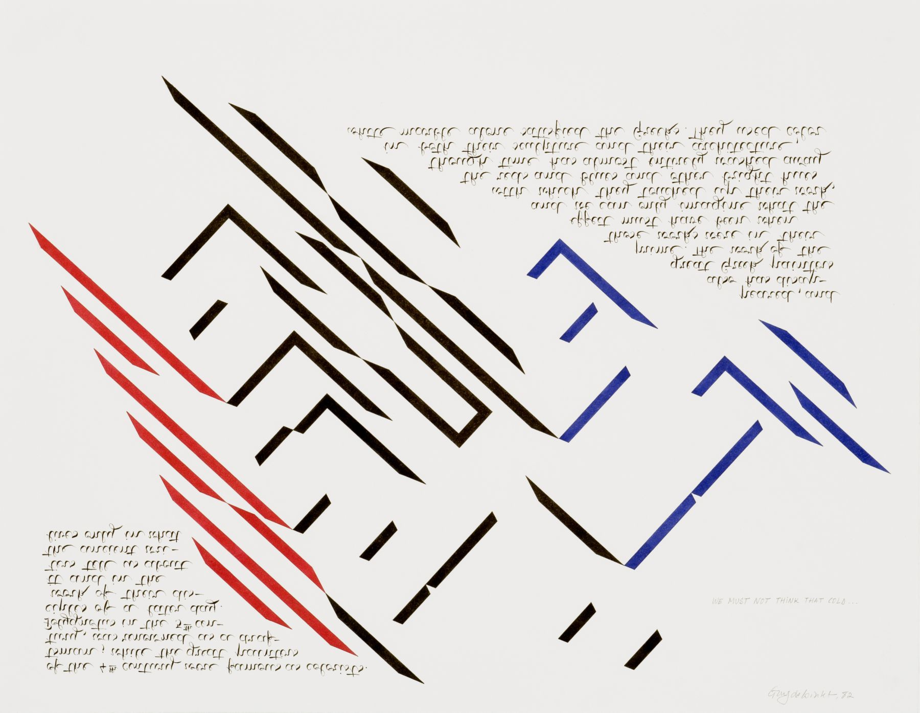 We must not think that cold..., 1982, ink and pencil on Arches paper, 19 3/4 x 25 1/2 inches