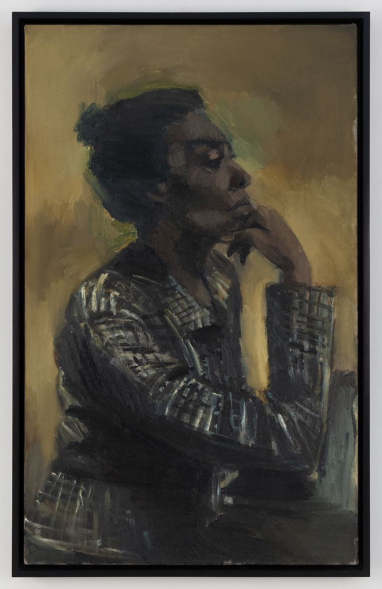 Lynette Yiadom-Boakye  Jubilee, 2016  Oil on canvas  41 1/2 x 25 3/4 inches (105.4 x 65.4 cm)