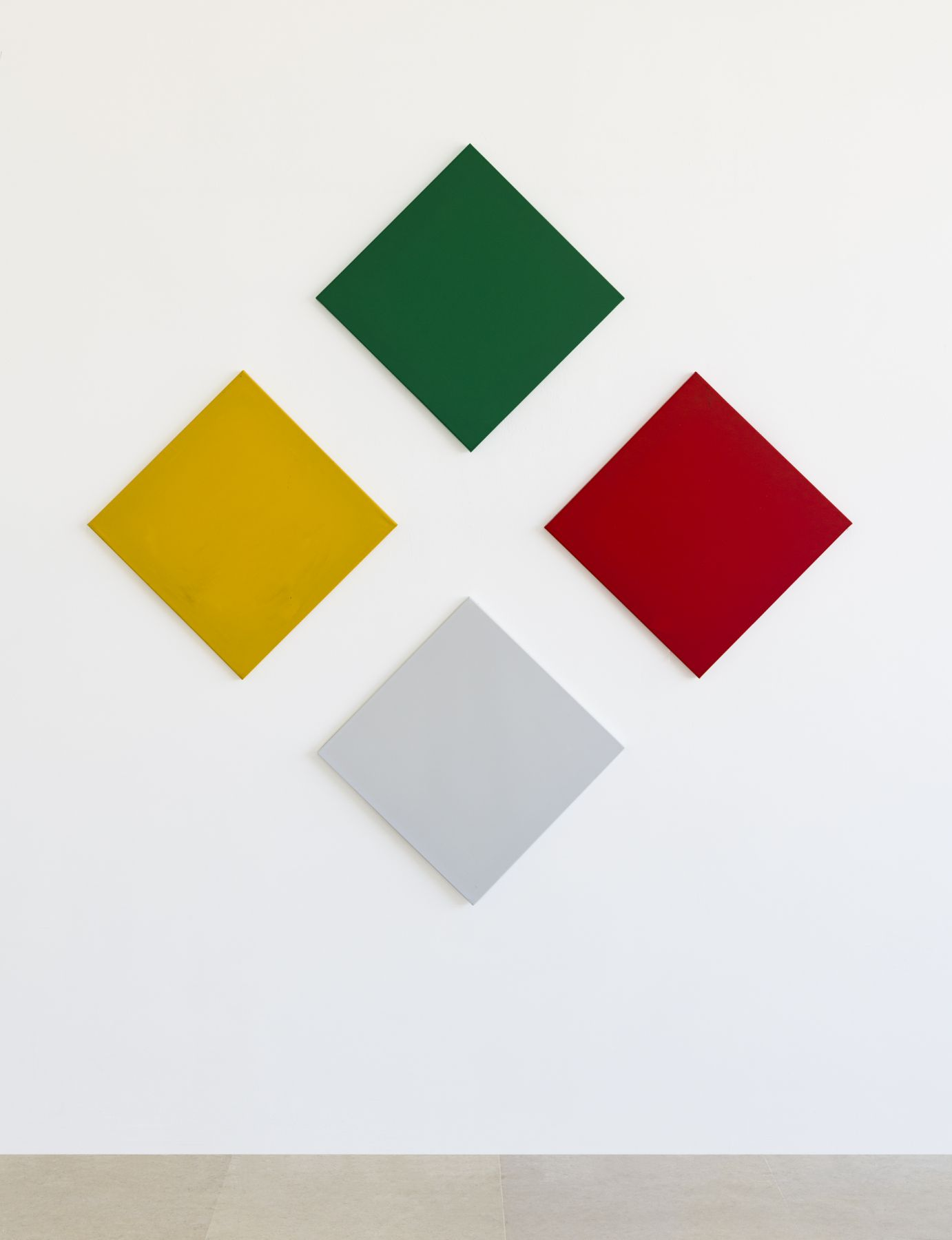 Konrad Lueg 24 variations of a picture from four different coloured squares for the same hanging scheme (includes drawing), 1966