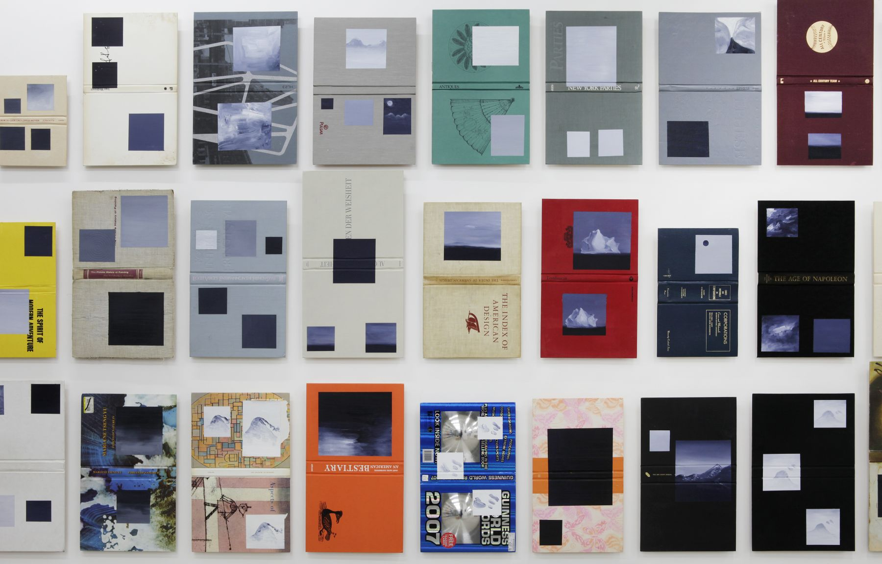 Volumes - inncompleteset, 2012 (detail), Oil on fabric, paper and cardboard