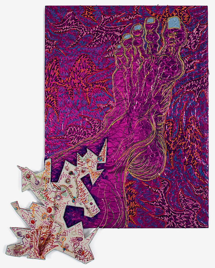 Paul Sharits Foot Infection III, 1982 Acrylic on purple Mylar, mixed media, foamcore attachment  69 x 53 inches (175.3 x 134.6 cm)