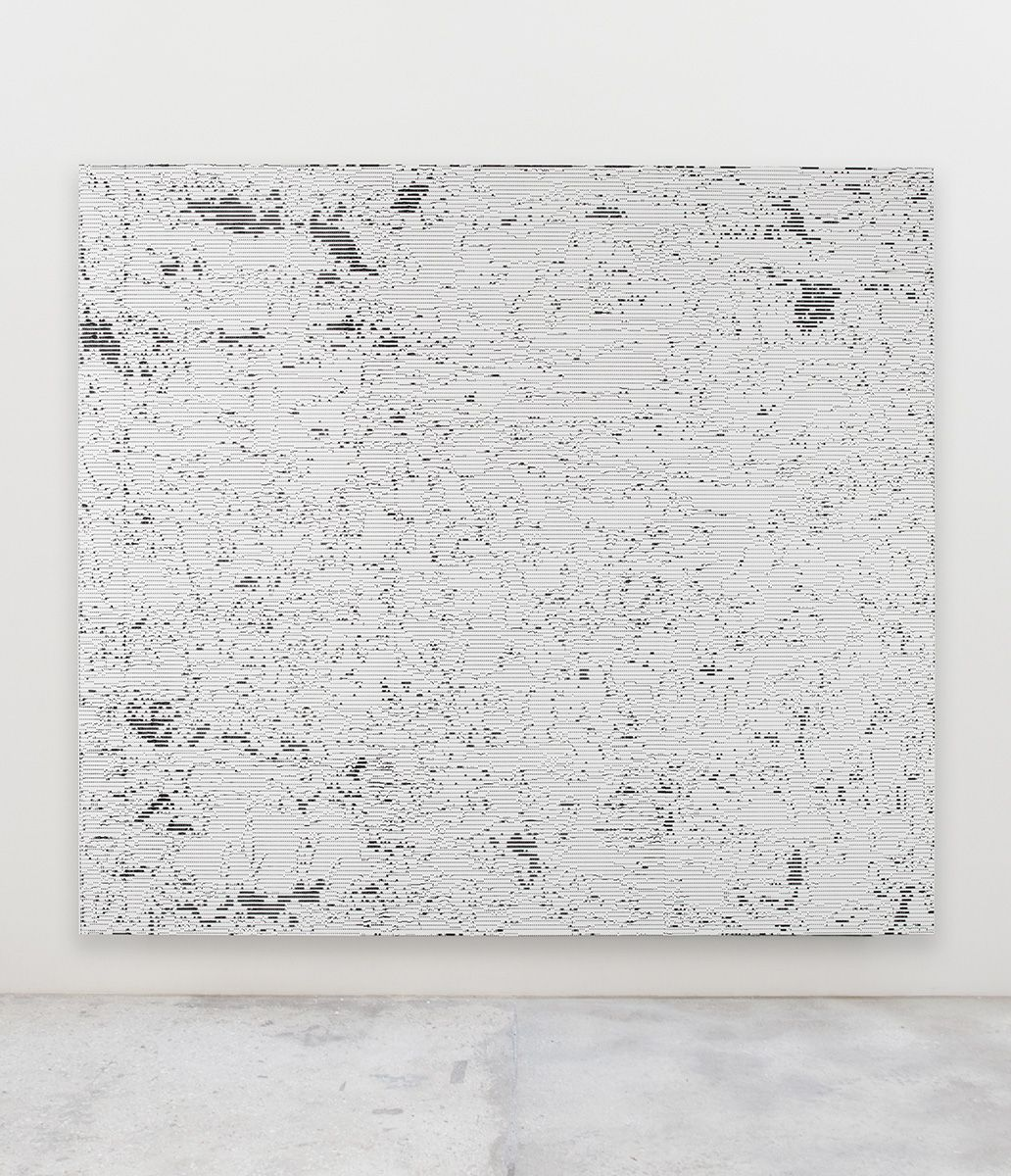 Jacqueline Humphries  i\Ω.., 2017  Oil on linen  114 x 127 inches (289.6 x 322.6 cm)