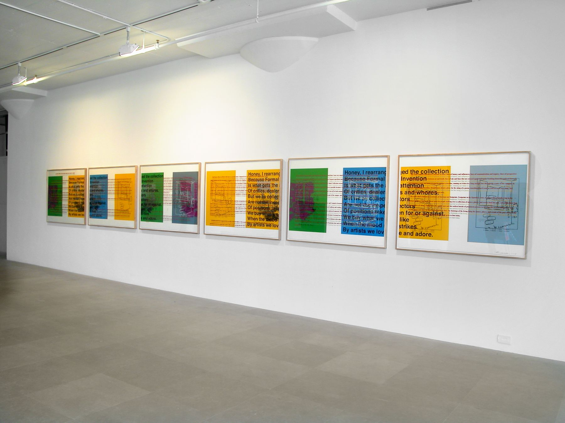 Allen Ruppersberg, As the Crow Flies or How I Miss the Avant-Garde, 2007, six silkscreens (unique), 38 x 50 inches