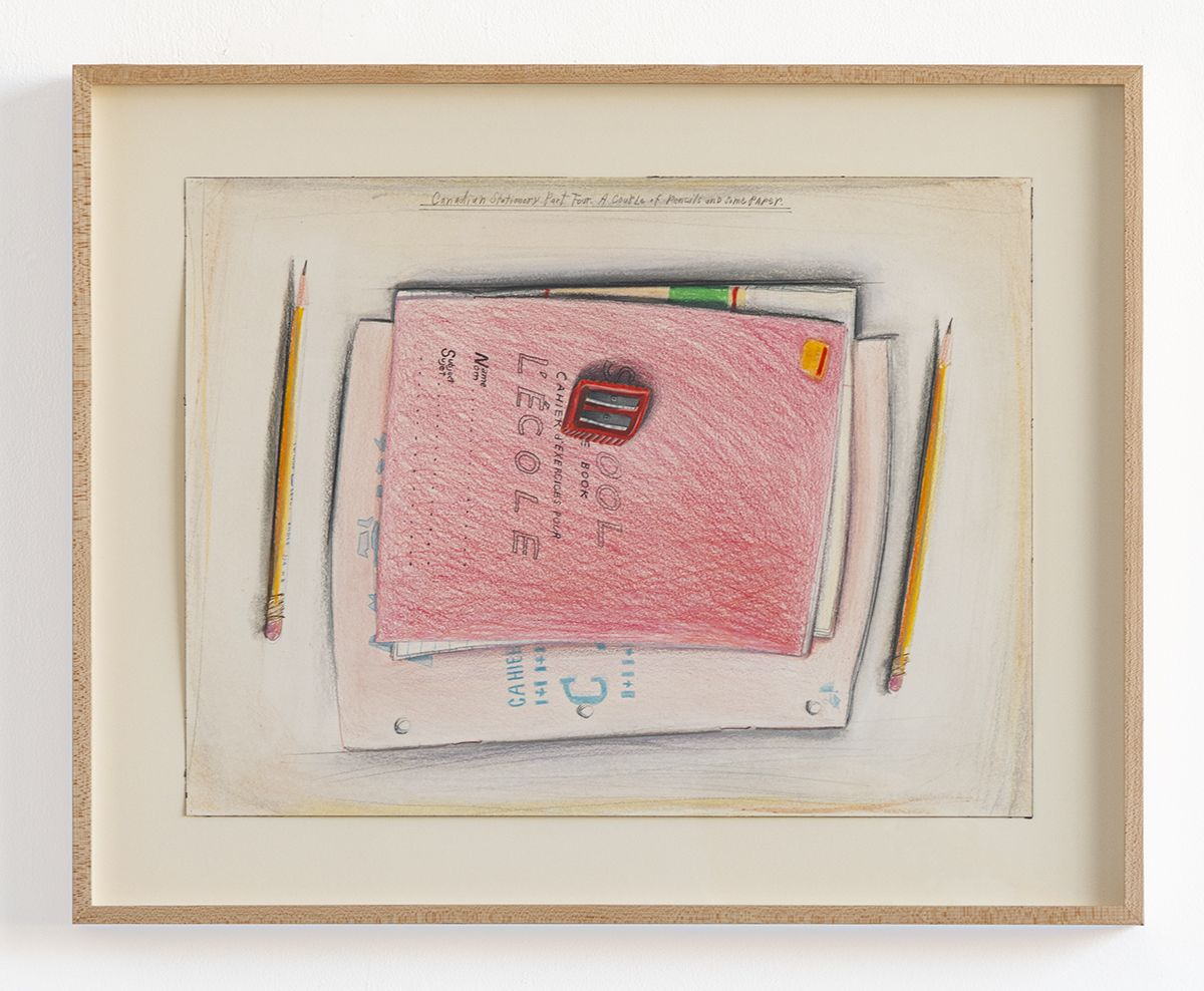 Candy Jernigan, Canadian Stationery Part 4: A Couple of Pencils and Some Paper, n.d.,  Colored pencil on paper,  Image: 12 1/4 x 16 1/4 inches (31.1 x 41.3 cm),  Frame: 16 3/8 x 20 1/2 x 1 1/2 inches (41.6 x 52.1 x 3.8 cm)