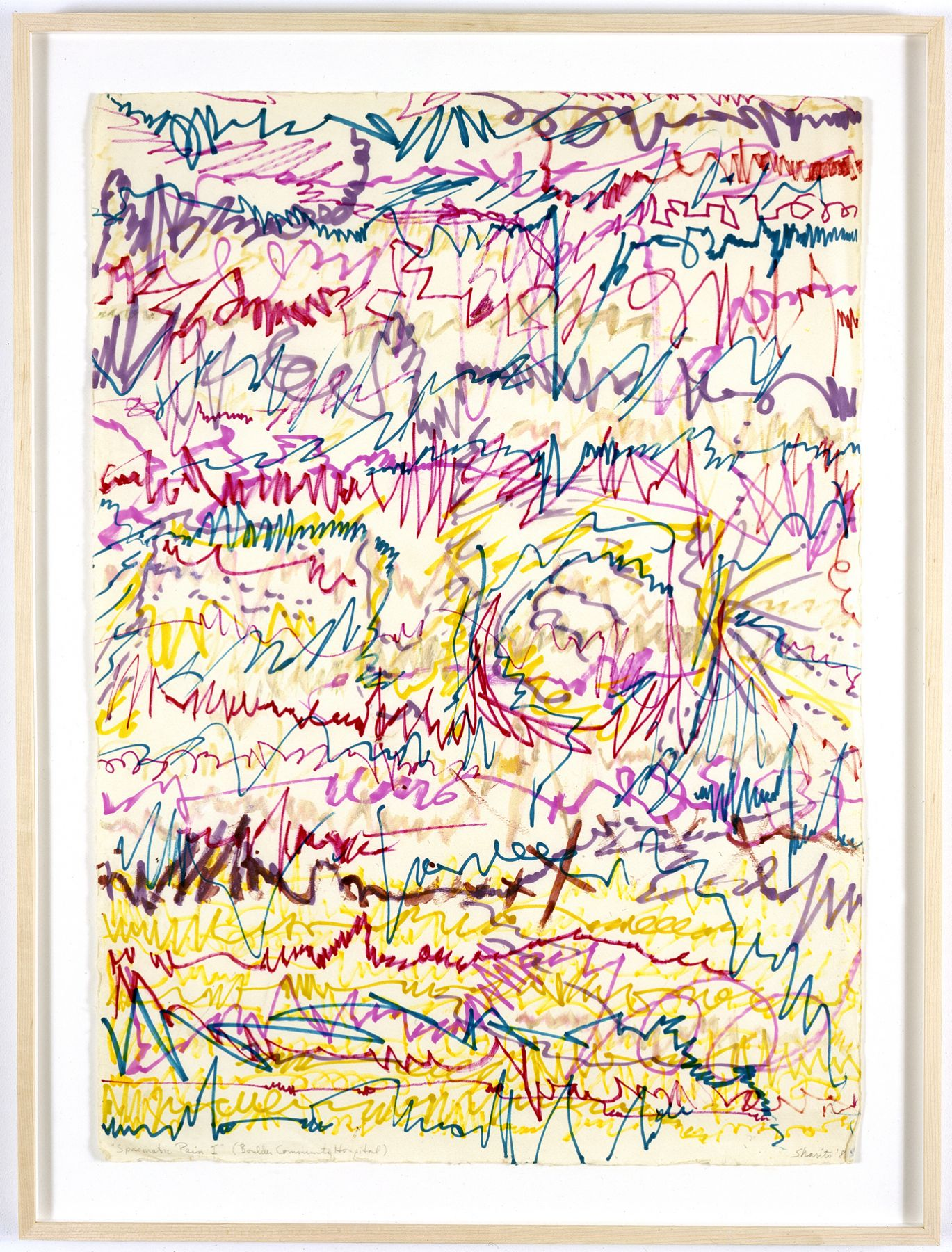 Paul Sharits, Spasmatic Pain I (Boulder Community Hospital), 1981, marker on paper, 28 x 20 inches