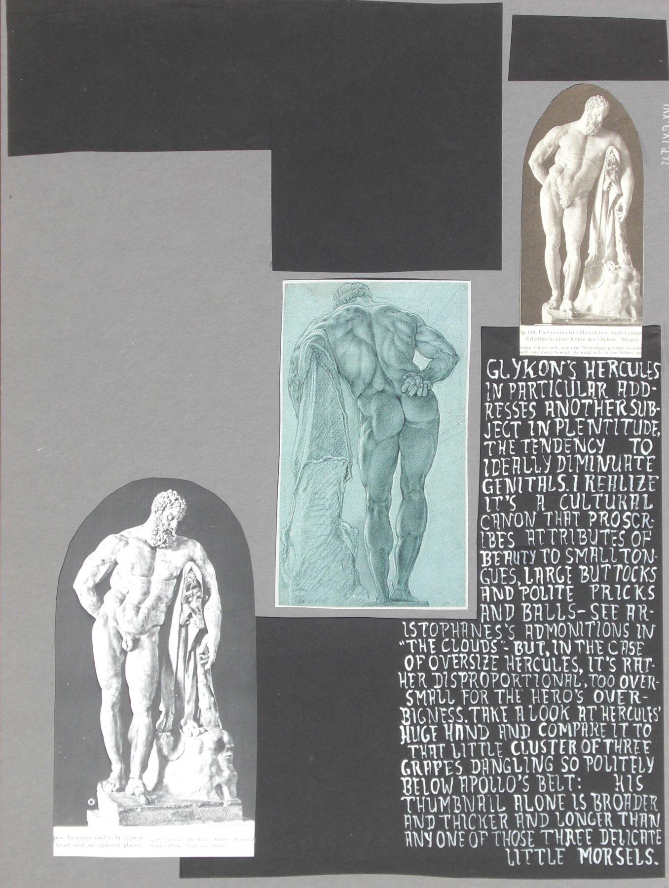 Richard Hawkins Urbis Paganus IV.9.XVI. (Hercules II), 2009 Mixed media on mat board 20 x 15 inches (50.8 x 38.1 cm)