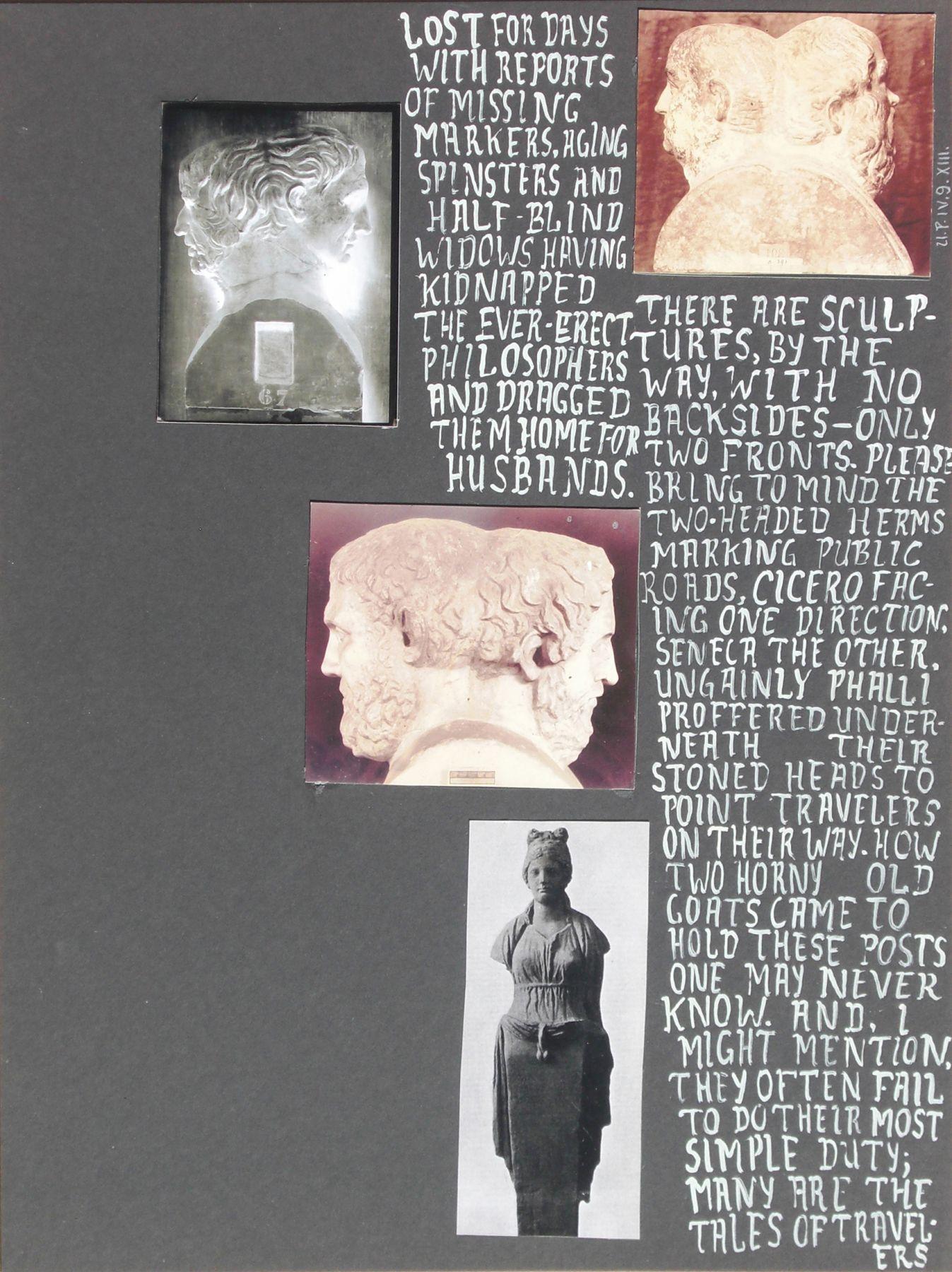 Richard Hawkins Urbis Paganus IV.9.XIII. (Herms I), 2009 Mixed media on mat board 20 x 15 inches (50.8 x 38.1 cm)