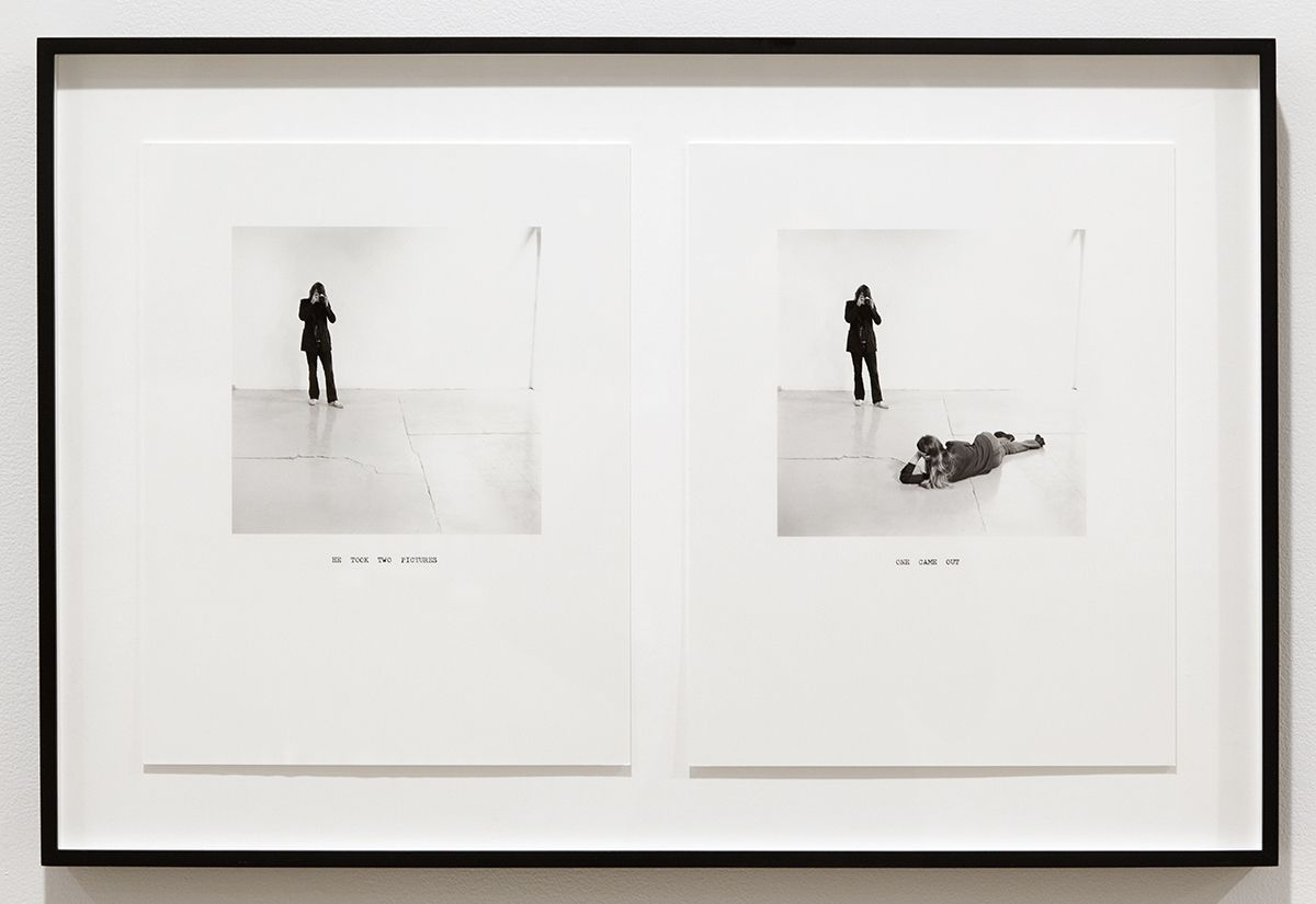 William Wegman, He Took Two Pictures/ One Came Out, 1972/2011, Silver Gelatin Print, Paper each: 14 x 11 inches (35.6 x 27.9 cm), Frame: 18 1/4 x 27 5/8 inches (46.4 x 70.2 cm)