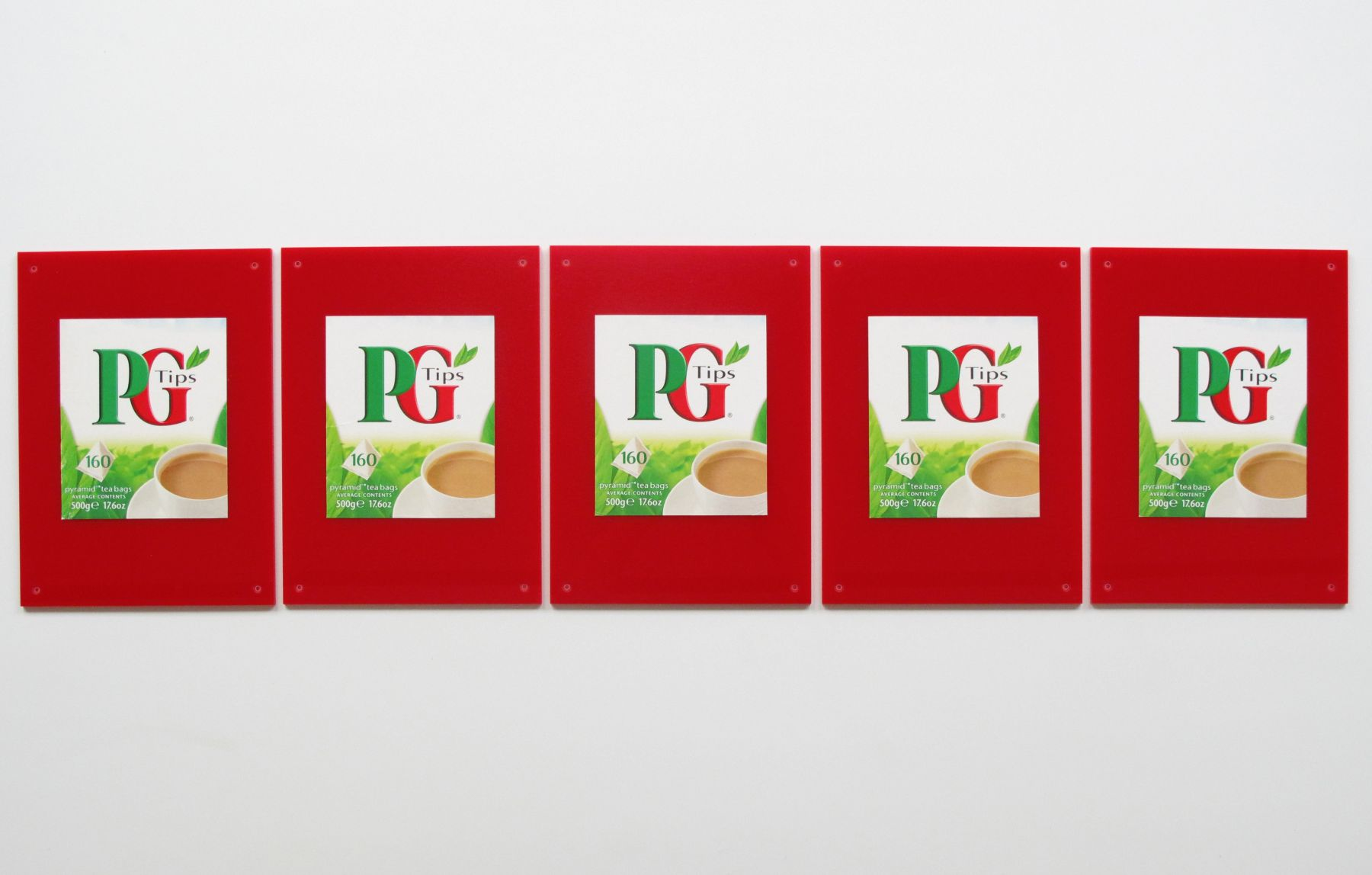PG Tips, 2009, Plexiglas, printed cardboard, five parts, 11 x 8 inches (each), 11 x 44 3/8 inches (approx. overall)