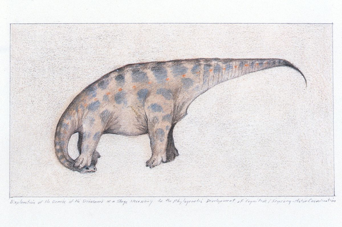 Thomas Zummer, Explanation of the Demise of the Dinosaur, 1992, pen, ink, color pencil on bristol, 12 x 9 inches