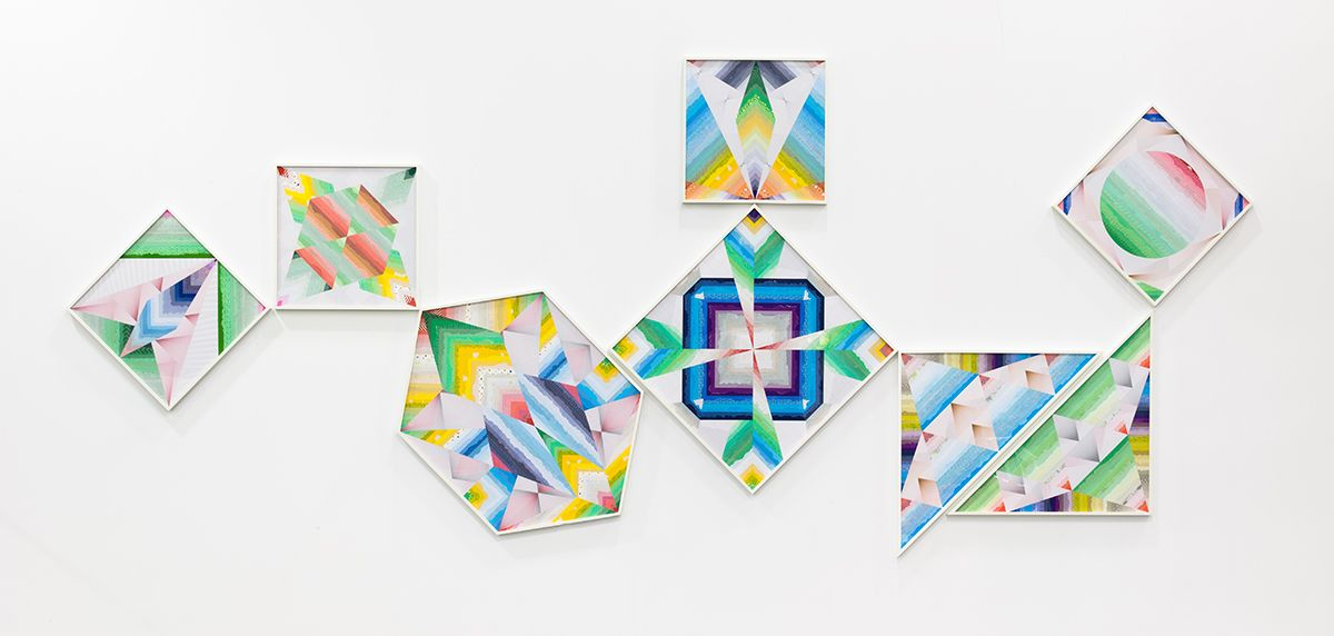 Haegue Yang Flashy Prismatic Composition - Trustworthy #232, 2013 Various envelope security patterns, framed 8 Paper collages