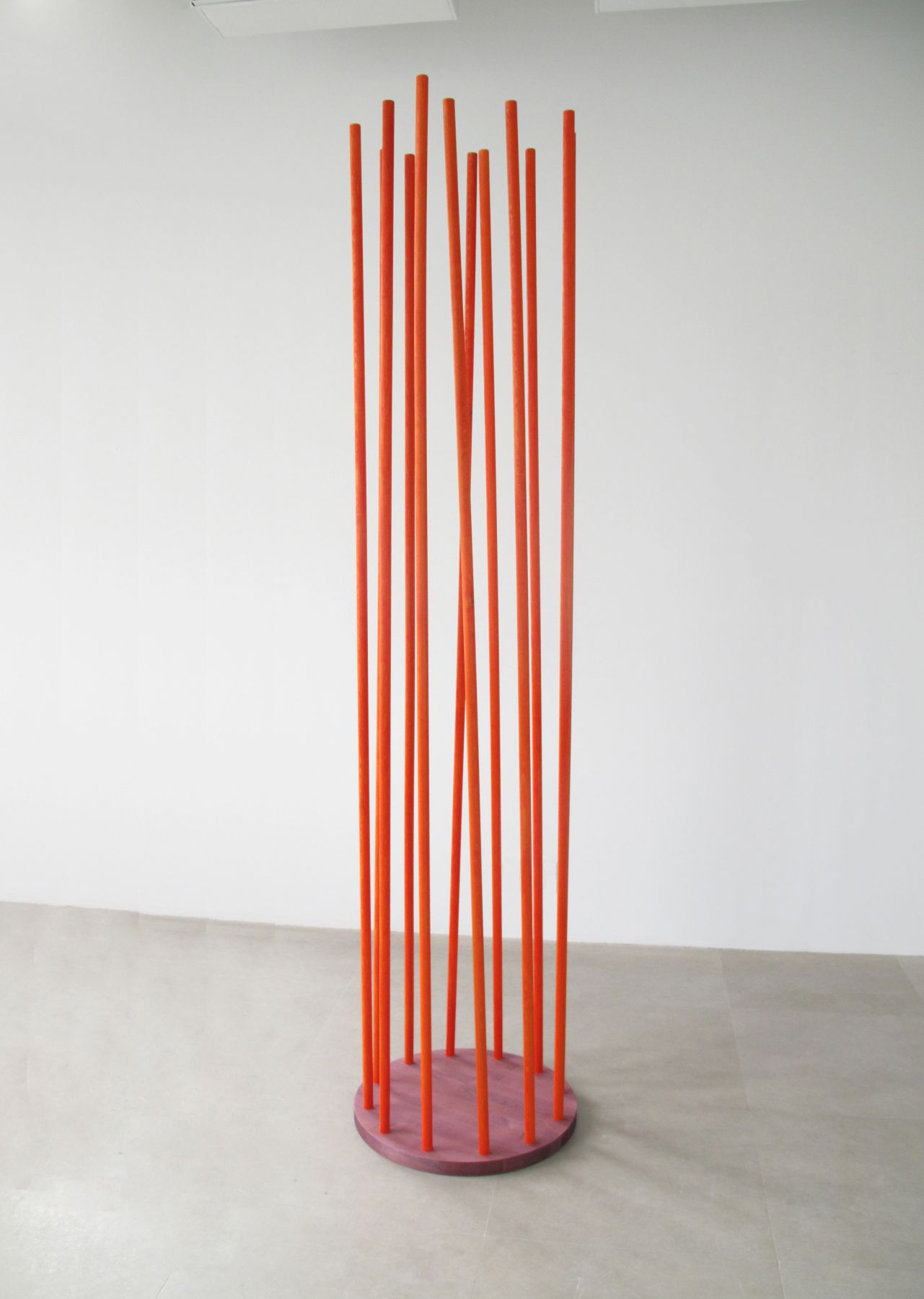 Trans Column 6 (violet and orange), 2009, wood, gouache, oil, 94 1/2 x 22 1/2  x 22 1/2 inches