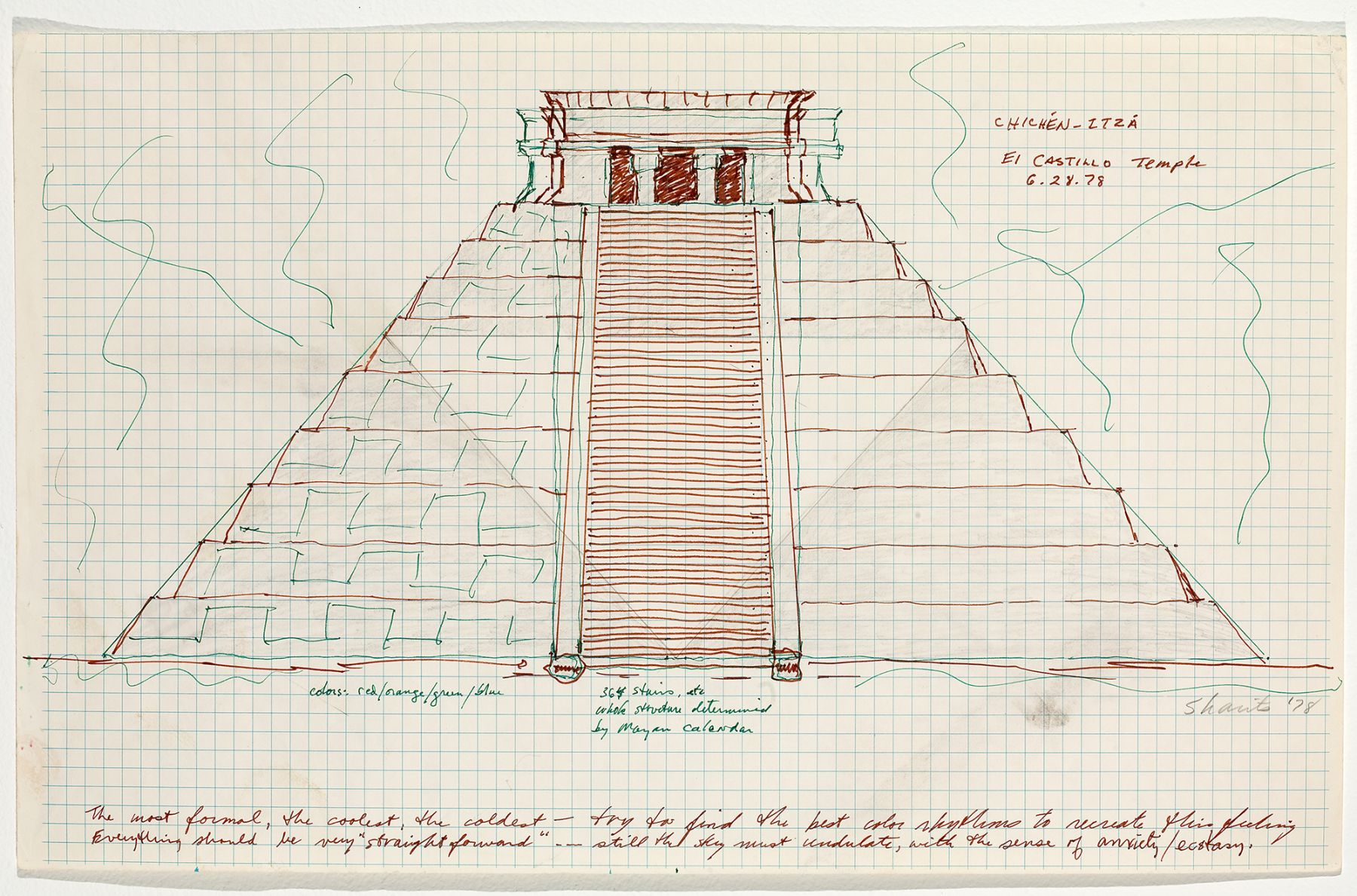 Chichen-Itza El Castillo Temple, 1978, colored ink on paper, 11 x 17 1/2 inches