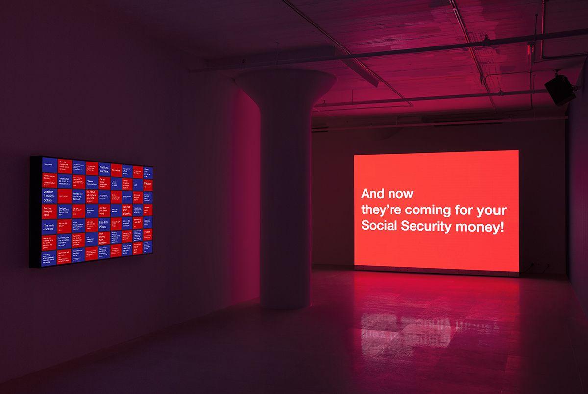 Tony Cokes, Installation view, On Non-Visibility, Greene Naftali, 2018