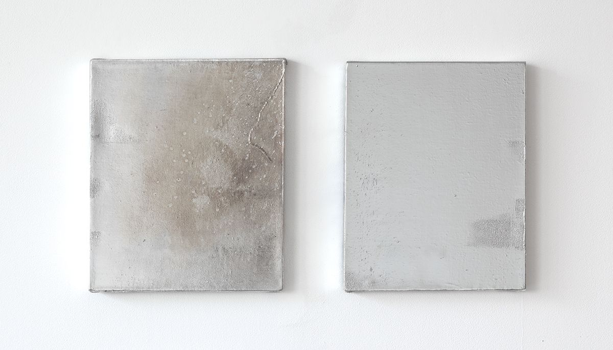 Mathieu Malouf  Untitled, 2013  Gesso, human hairs, and electro silver plating process on linen  14 x 12 inches (35.6 x 30.5 cm) each