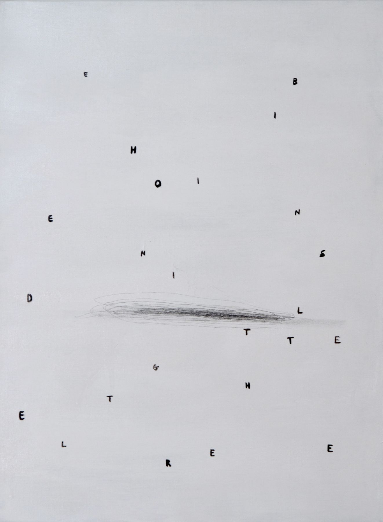 Josef Strau The Assistant (5), 2008 ink letters, pencil and acrylic on canvas 24 x 18 inches  60.96 x 45.72 cm