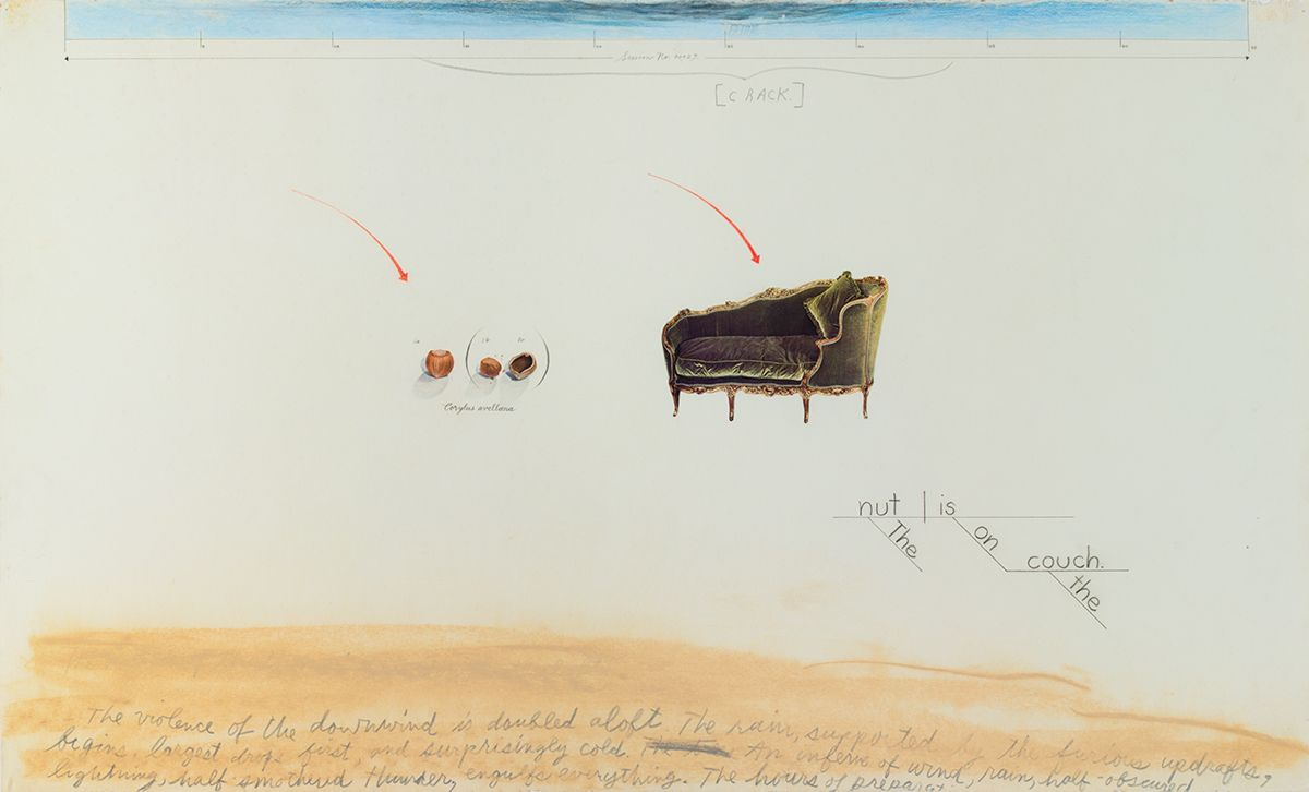 The nut is on the couch, 1989, Acrylic, pastel, and collage on paper, 27 1/4 x 42 1/2 x 1 1/2 inches (69.2 x 107.9 x 3.8  cm)