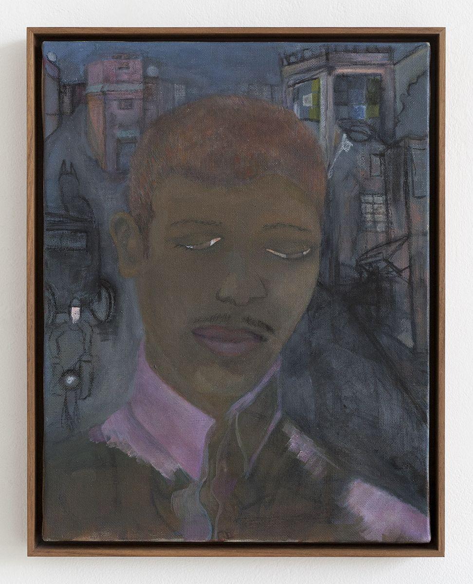 Katharina Wulff  Untitled, 2012  Oil on canvas  13 7/8 x 10 3/4 x 3/4 inches (35.1 x 27.2 x 1.8 cm)  Frame: 14 5/8 x 11 1/2 x 1 1/4 inches (37.1 x 29.2 x 3.2 cm)