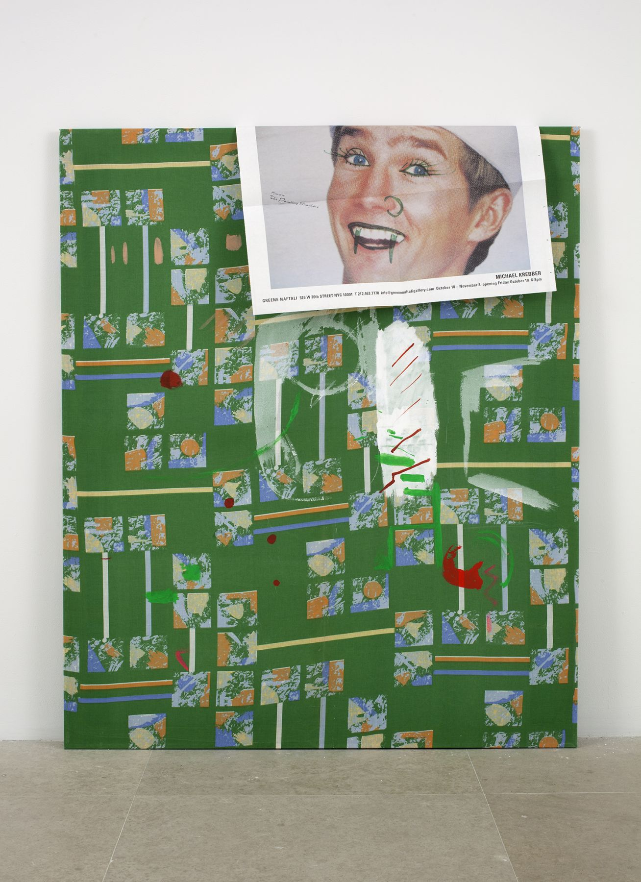 before you change your mind #2 (puberty gadget), 2003,  pencil, acrylic and paper on fabric,  48 x 40 inches
