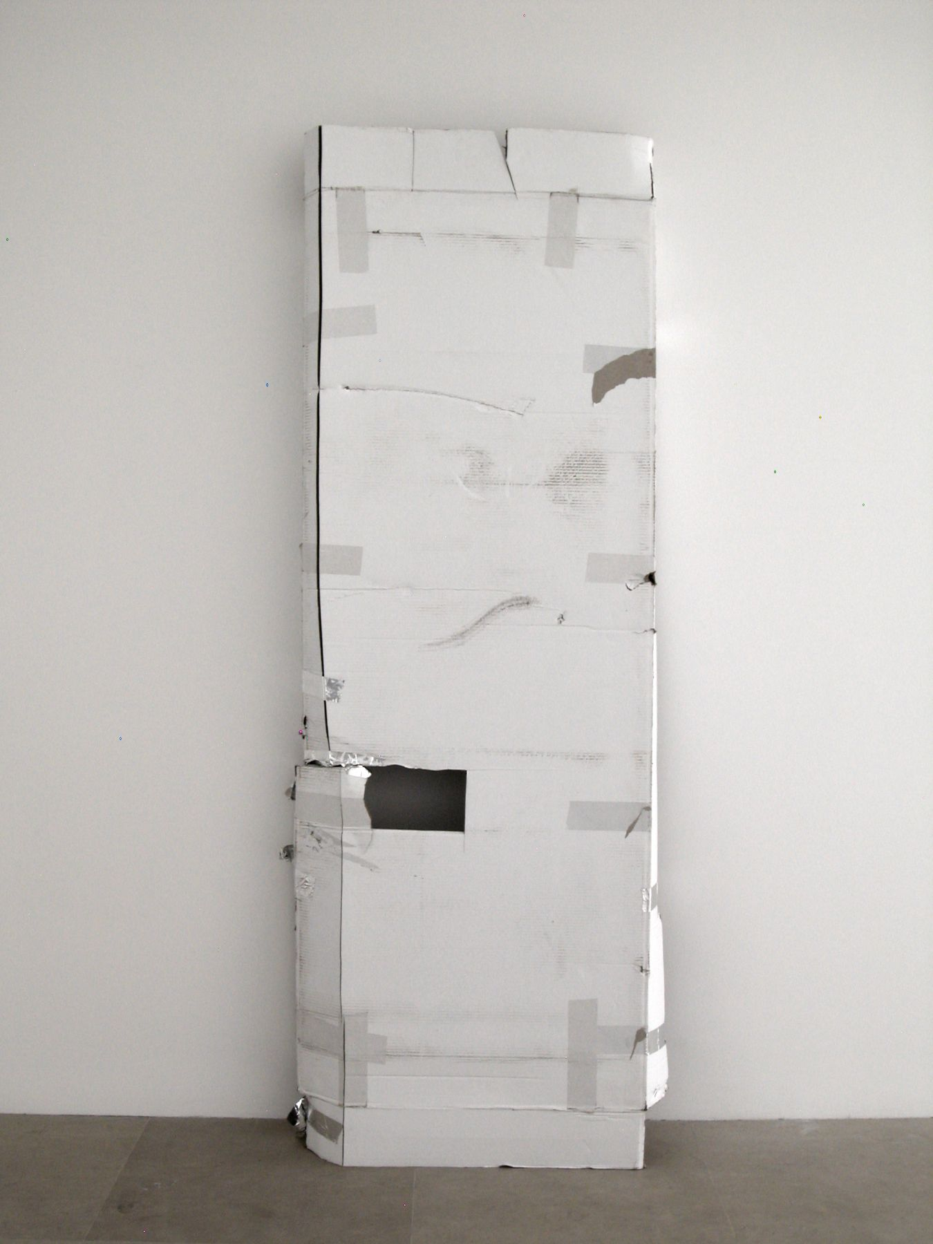 For the First and Last Day, 2008, Cardboard, tape, 85 x 32 x 10.5 inches