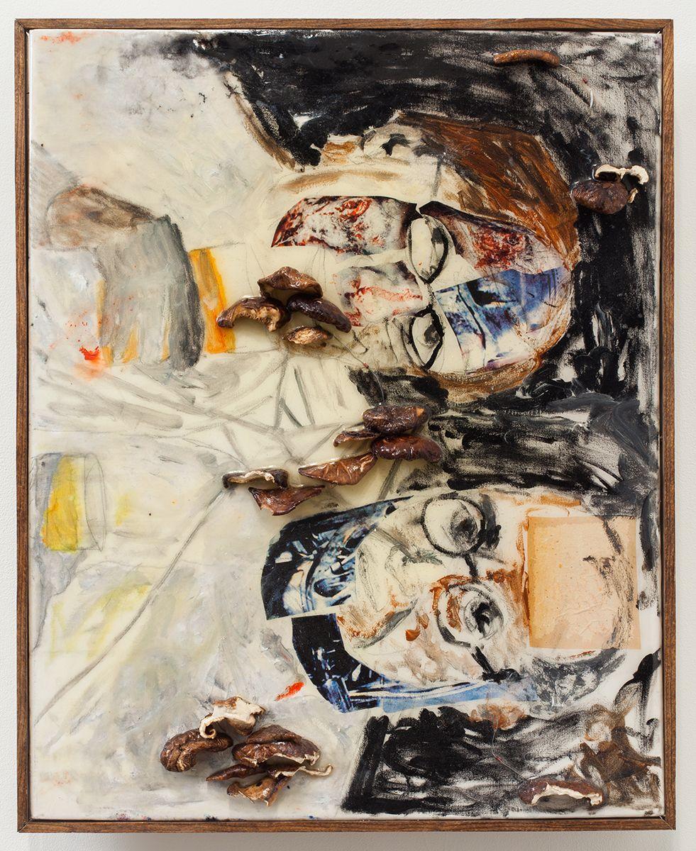 Mathieu Malouf  the conversation of palo alto, 2012  Oil paint, shitake mushrooms, resistors, epoxy resin on canvas  20 1/2 x 16 1/2 x 2 inches (52.1 x 41.9 x 5.1 cm)