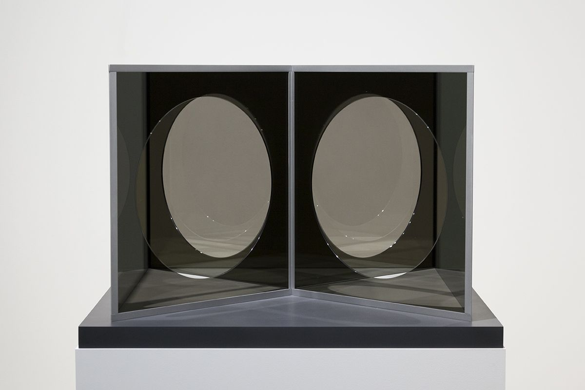 Dan Graham Model for Pavilion Influenced by Moon Gates, 2018 Stainless steel, two-way mirror glass 42 1/8 x 42 1/8 x 27 15/16 inches (107 x 107 x 71 cm)