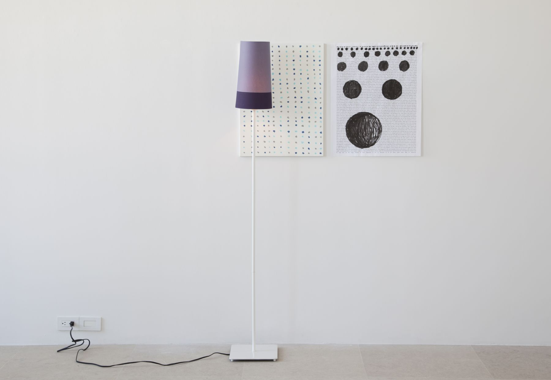 Josef Strau  Title Forthcoming, 2010  Mixed media installation with floor lamp, painting and poster  Overall dimensions variable