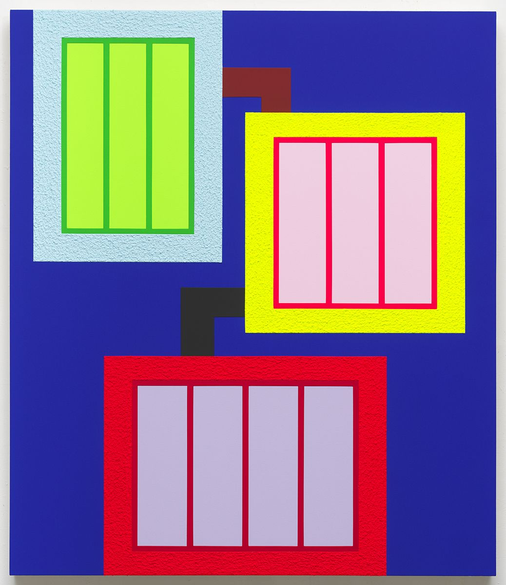 Peter Halley, Sum1, 2017 Acrylic, fluorescent acrylic, Flashe and Roll-A-Tex on canvas 72 x 62 inches (182.9 x 157.5 cm)