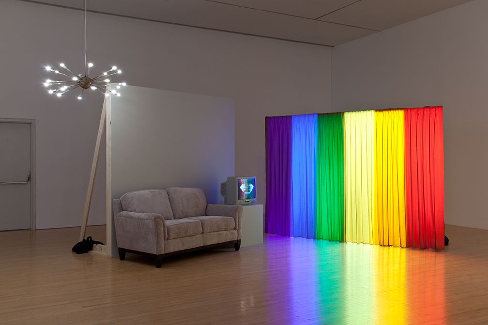 Spectral Analysis, 1977/2010, Curtain, sofa, television, single channel video, theatrical lighting, set wall and soundtrack