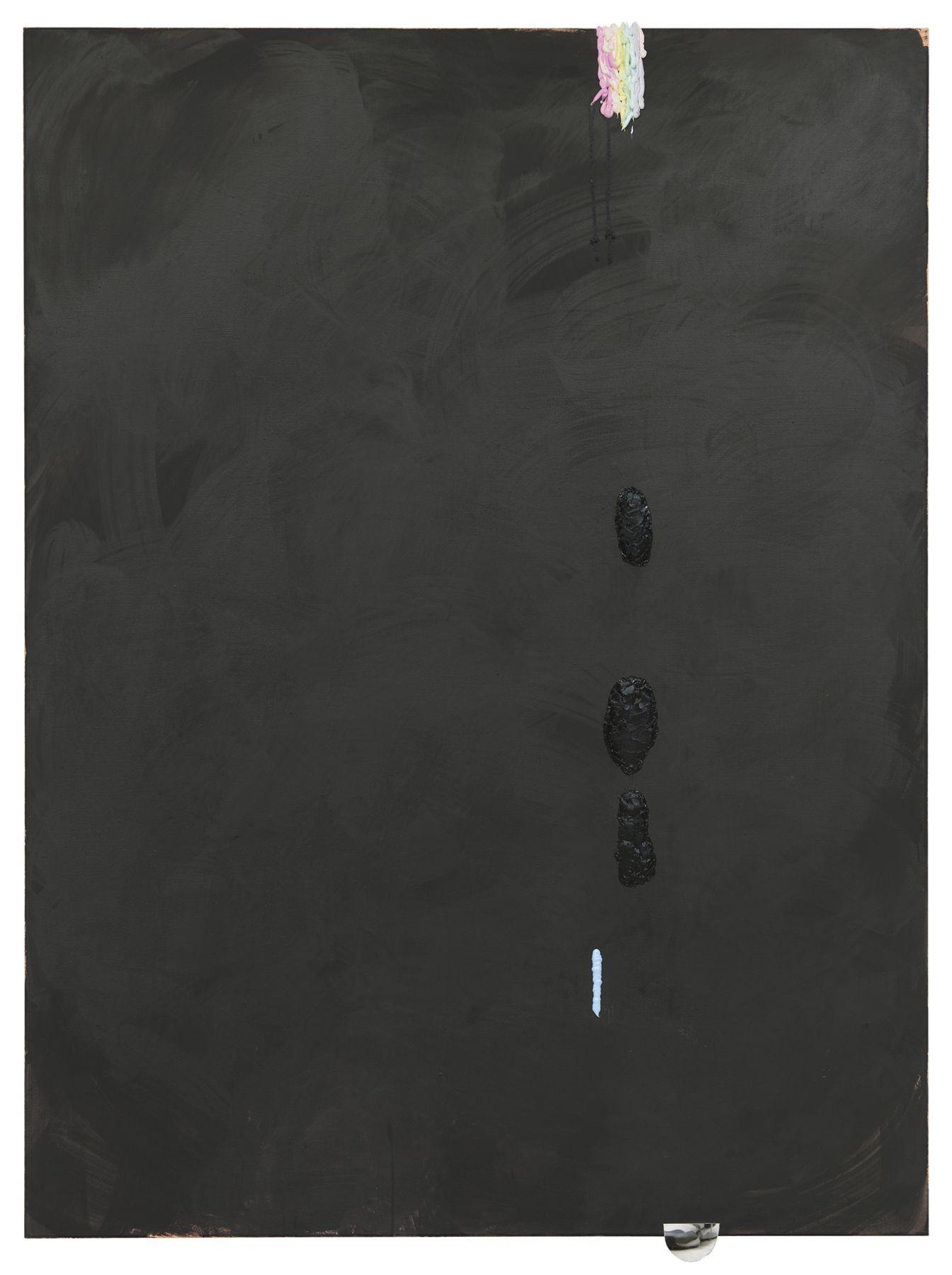 Monika Baer on hold, 2015 Acrylic, ink, mirror, oil on canvas 72 5/8 x 53 1/8 inches (184.5 x 135 cm)Monika Baer on hold, 2015 Acrylic, ink, mirror, oil on canvas 72 5/8 x 53 1/8 inches (184.5 x 135 cm)