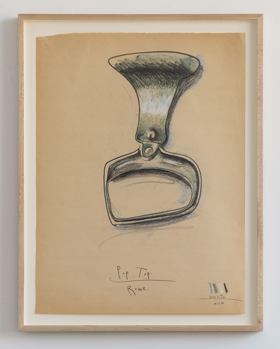 Candy Jernigan, Pop Top – Rome, 1984,  Charcoal on kraft paper,  Image: 24 x 18 inches (61 x 45.7 cm),  Frame: 27 x 21 x 1 1/2 inches (68.6 x 53.3 x 3.8 cm)
